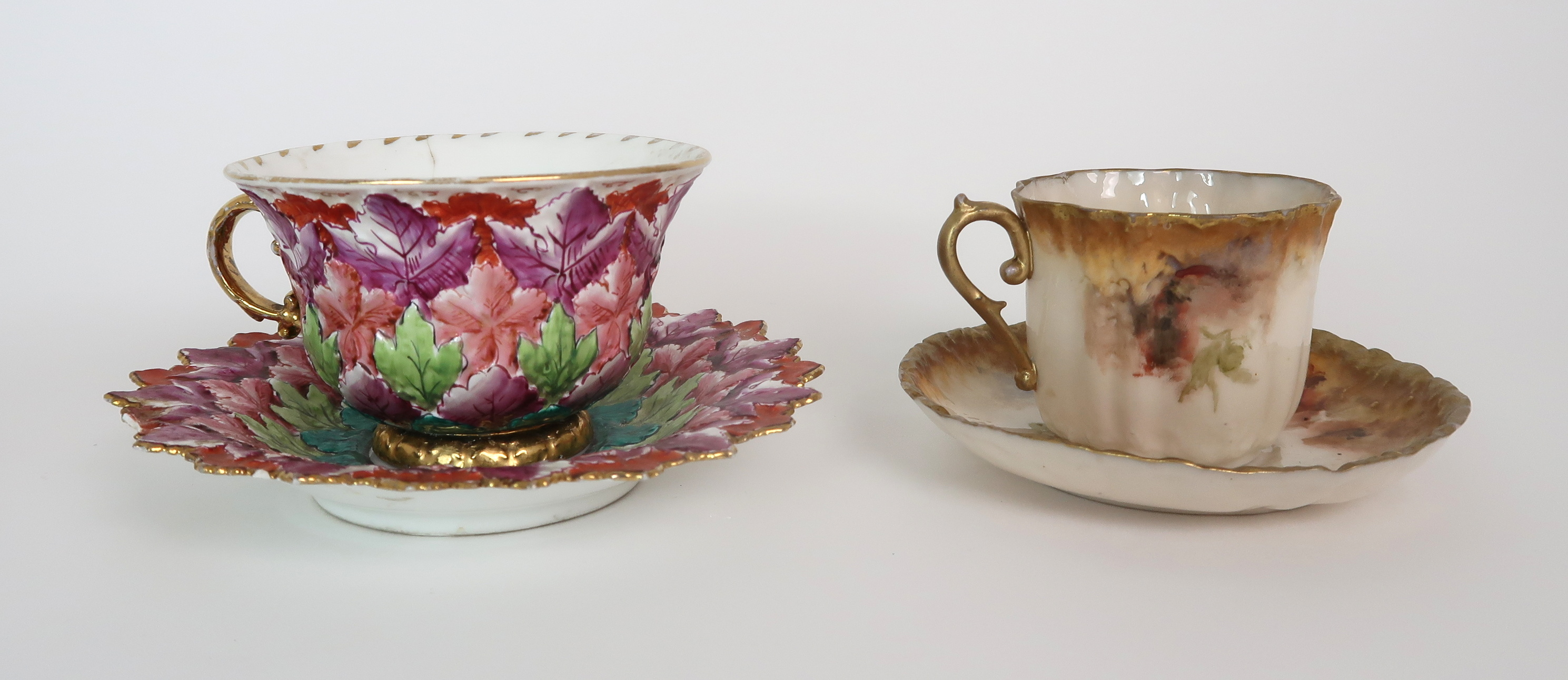 THREE CAPODIMONTE CUPS AND SAUCERS decorated with bacchanalian scenes, a pair of Sevres pots - Image 11 of 16