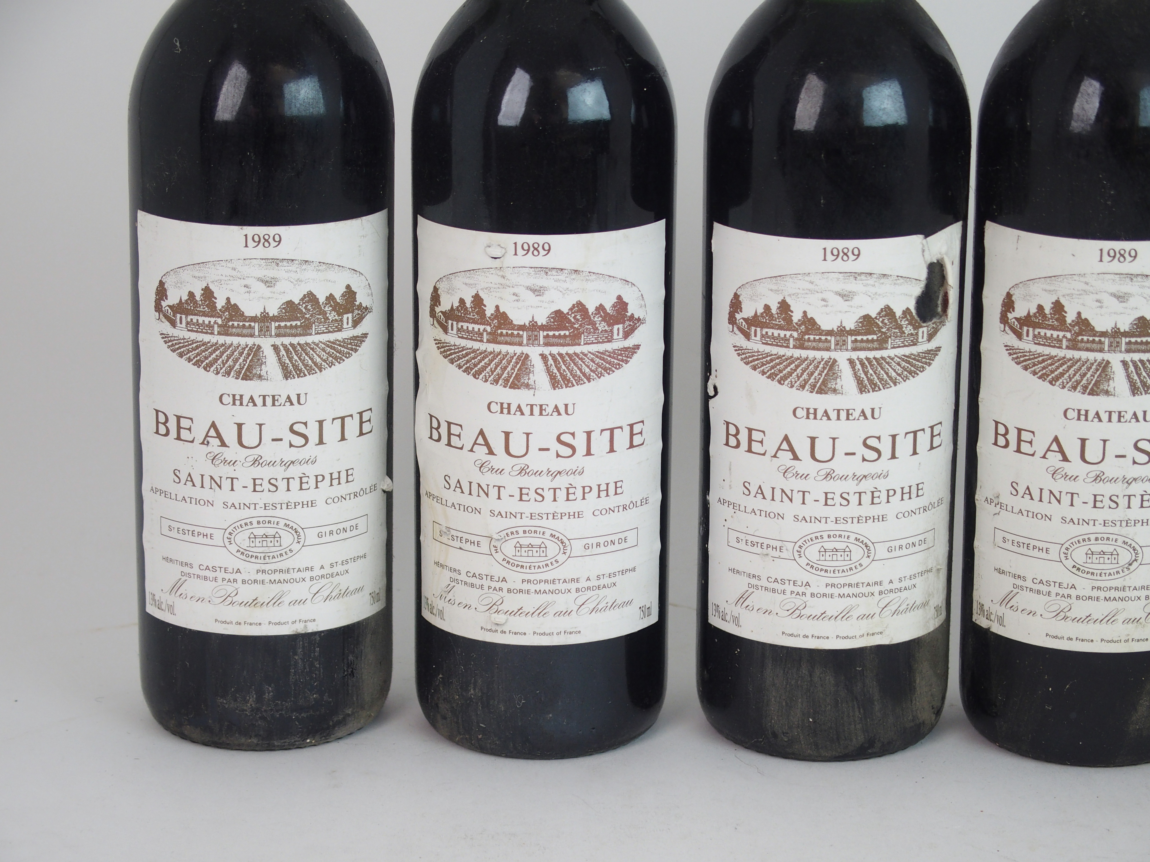 ELEVEN BOTTLES OF CHATEAU BEAU-SITE, SAINT ESTEPHE, 1989 13%vol, 750ml, labels stained and some torn - Image 6 of 8