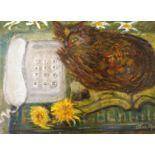 "THORA CLYNE SSWA (SCOTTISH 1337-2020) CALL ME Oil on canvas, signed, 38 x 51cm (15 x 20"")"
