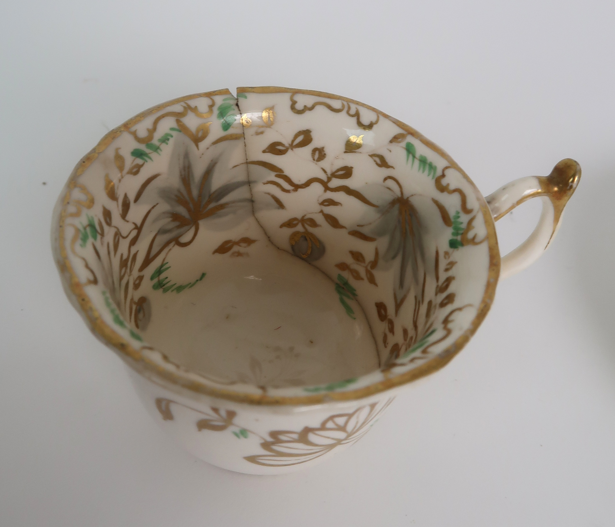 A COLLECTION OF 19TH CENTURY ENGLISH TEA AND COFFEE WARES the white ground with either grey and gilt - Image 13 of 22