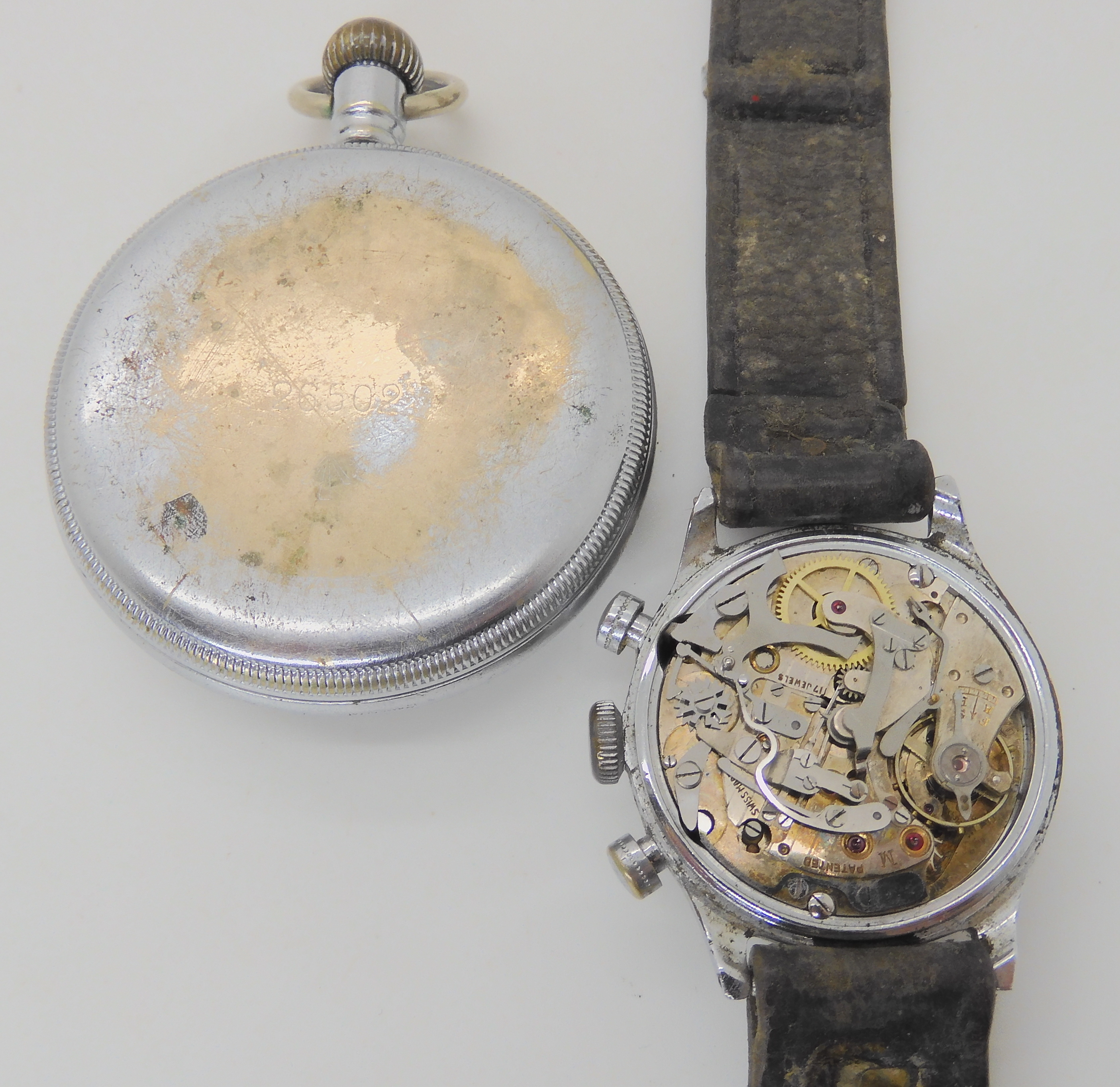 TWO MILITARY WATCHES a base metal Waltham pocket watch with a black dial subsidiary seconds dial and - Image 2 of 5