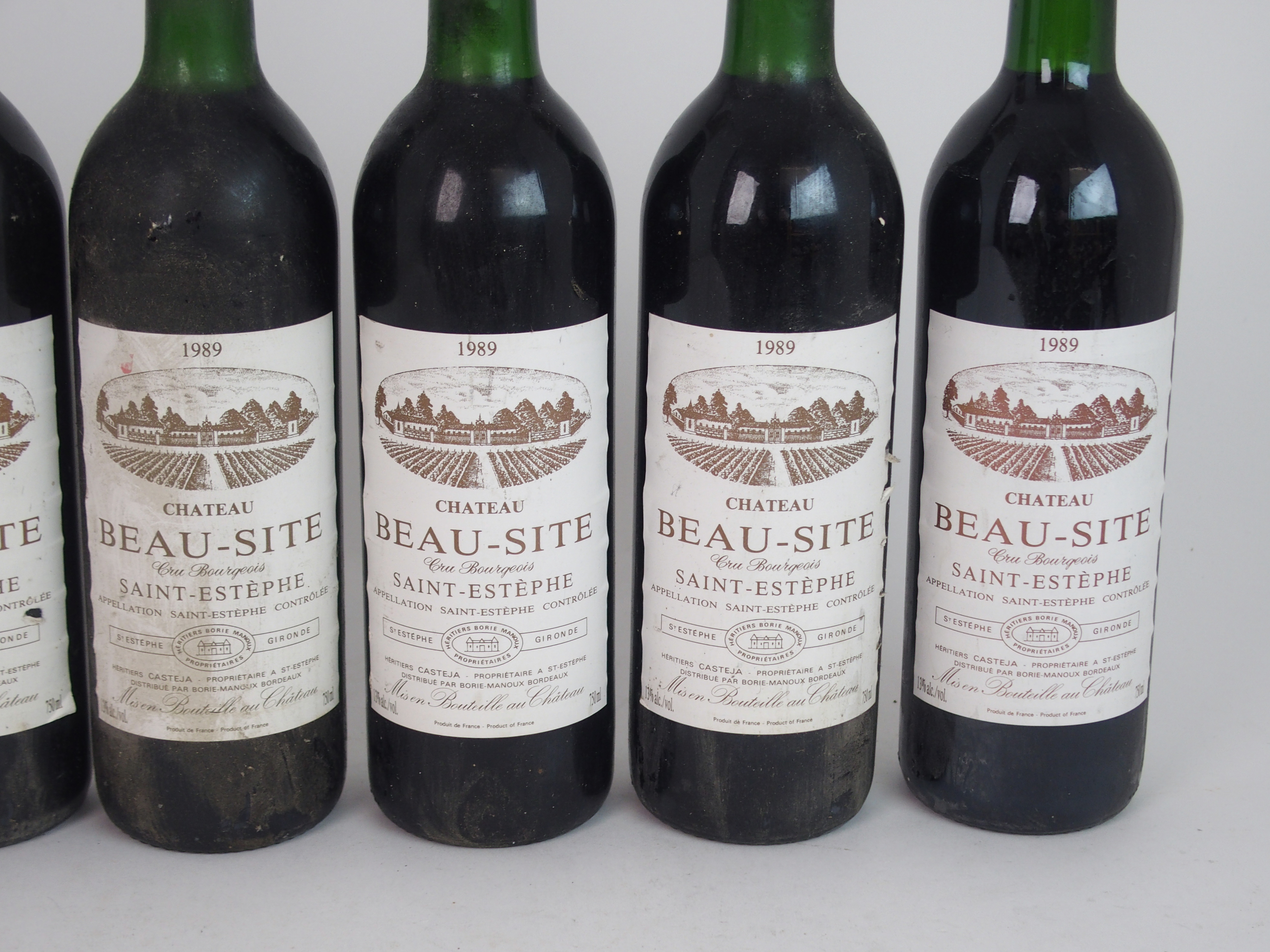 ELEVEN BOTTLES OF CHATEAU BEAU-SITE, SAINT ESTEPHE, 1989 13%vol, 750ml, labels stained and some torn - Image 4 of 8