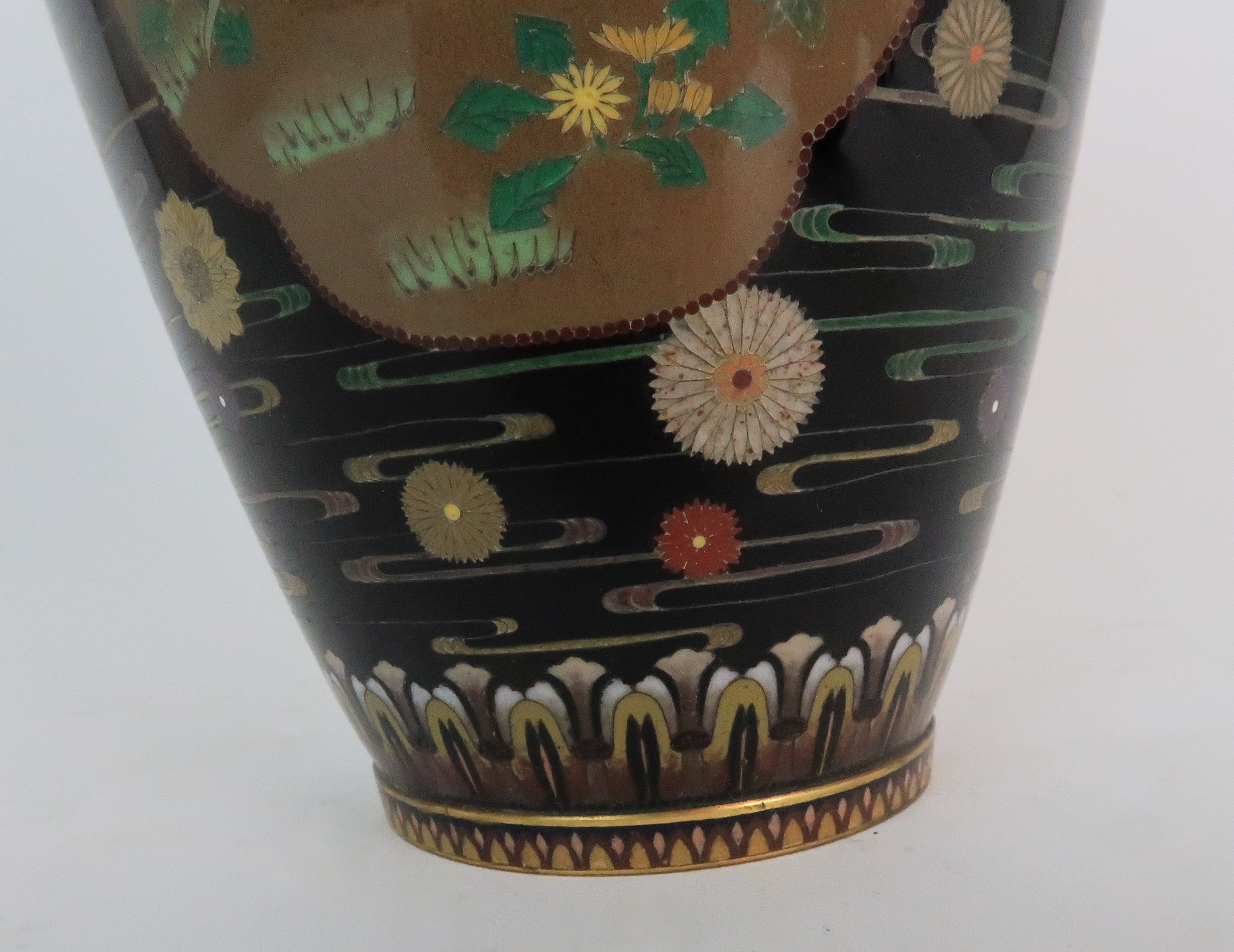 A JAPANESE CLOISONNE BALUSTER VASE finely decorated with panels of birds, butterflies, plants and - Image 10 of 15