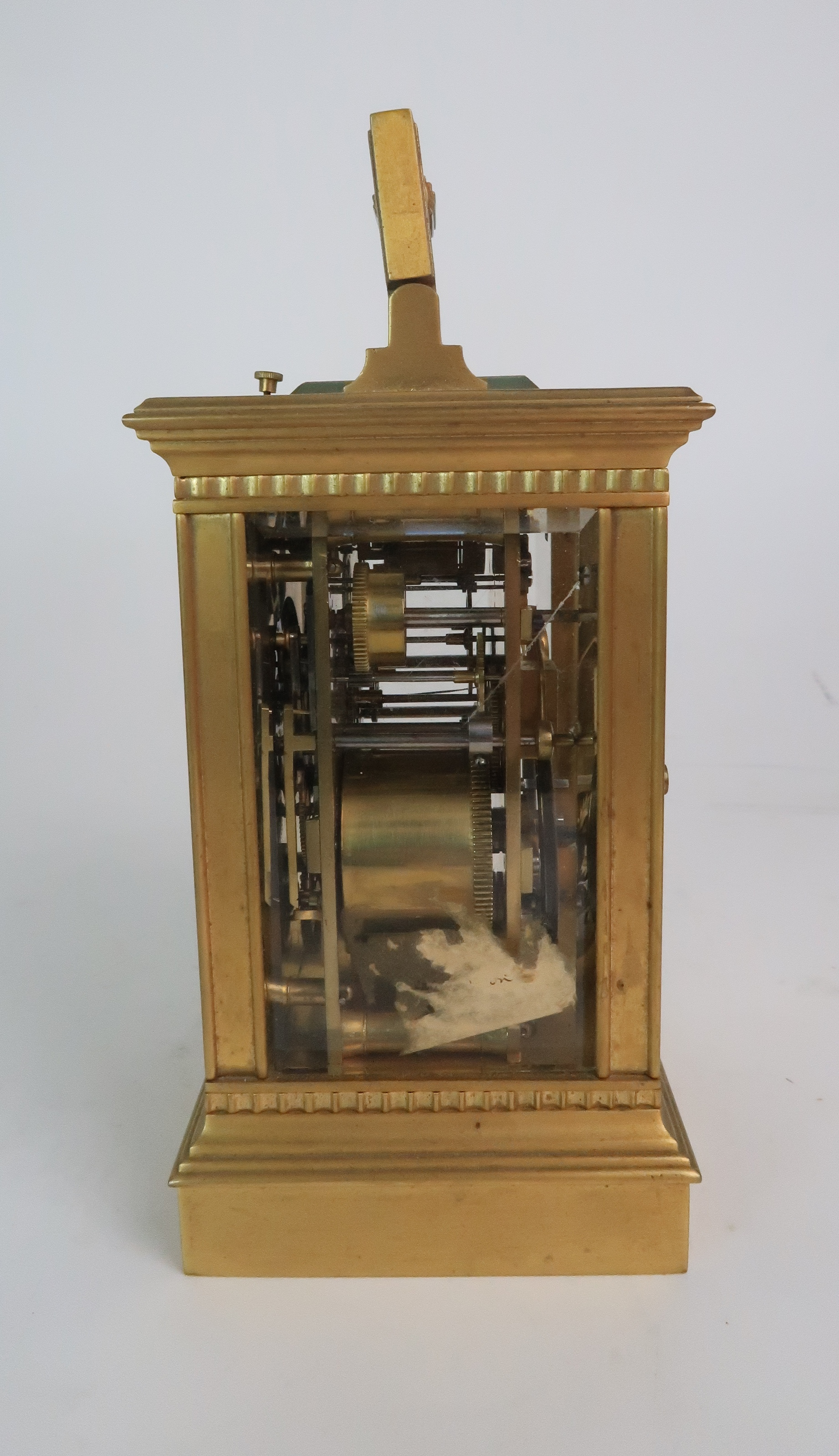 A FRENCH BRASS AND GLASS REPEATER CARRIAGE CLOCK the enamel dial with Roman numerals, with - Image 2 of 8