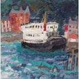 •SHEILA MACMILLAN DA, PAI (SCOTTISH 1928-2018) THE FERRY BOAT Oil on card, 39 x 39cm (15 1/4 x 15