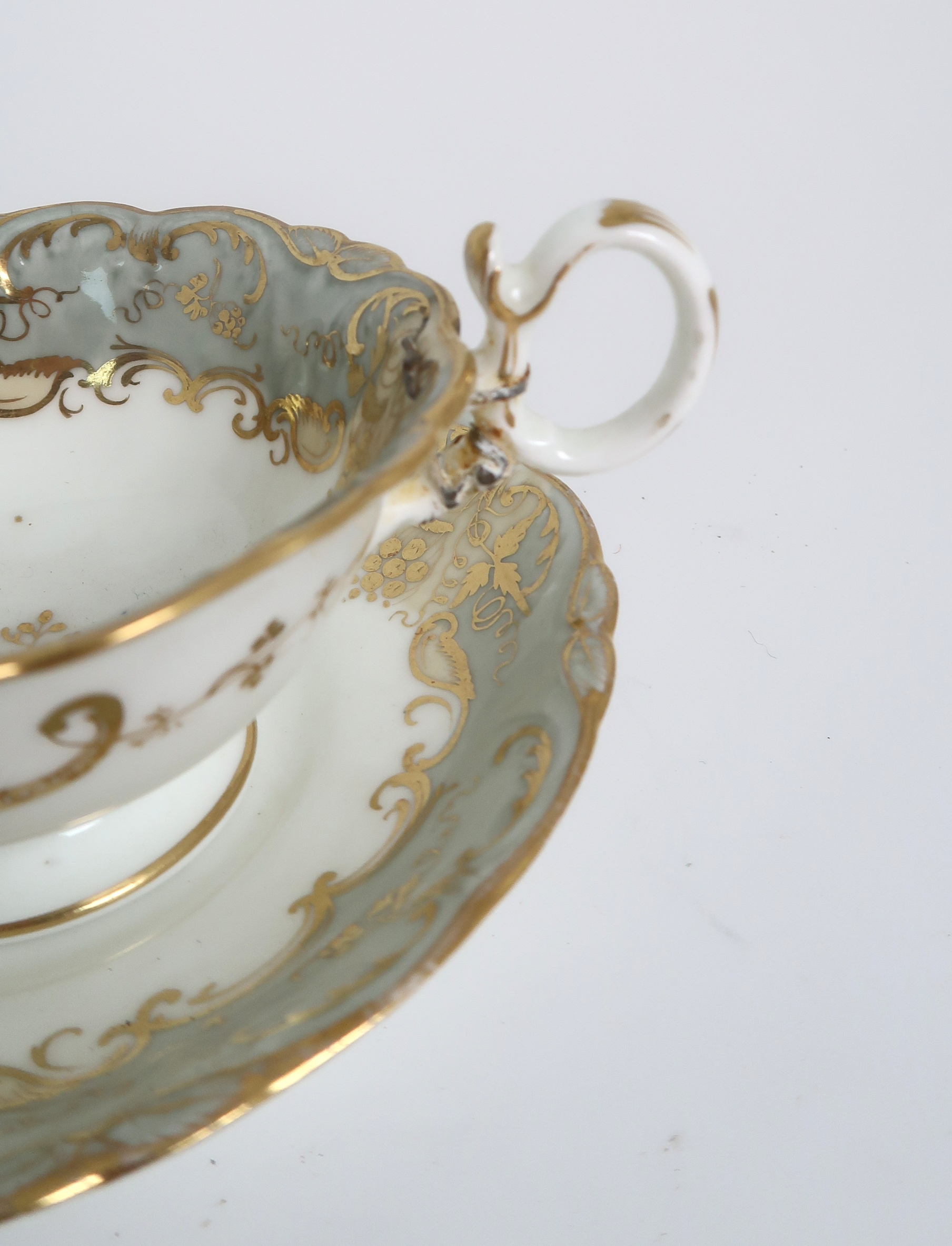 A COLLECTION OF 19TH CENTURY ENGLISH TEA AND COFFEE WARES the white ground with either grey and gilt - Image 18 of 22
