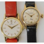 TWO LADIES WATCHES an 18ct gold ladies Duward King watch, diameter of the dial, 1.7cm, with a