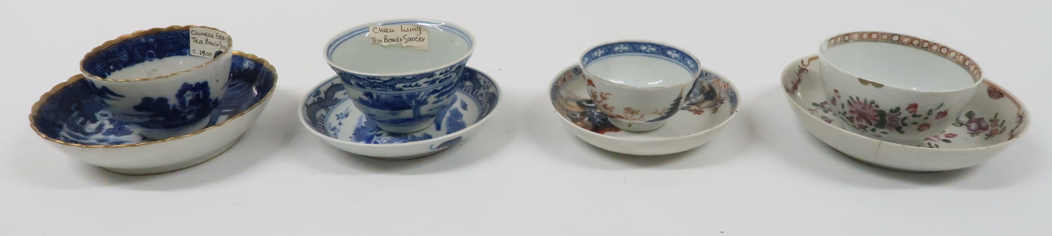 A COLLECTION OF CHINESE EXPORT TEAWARES and others including famille rose, Chien Lung, blue and - Image 14 of 22
