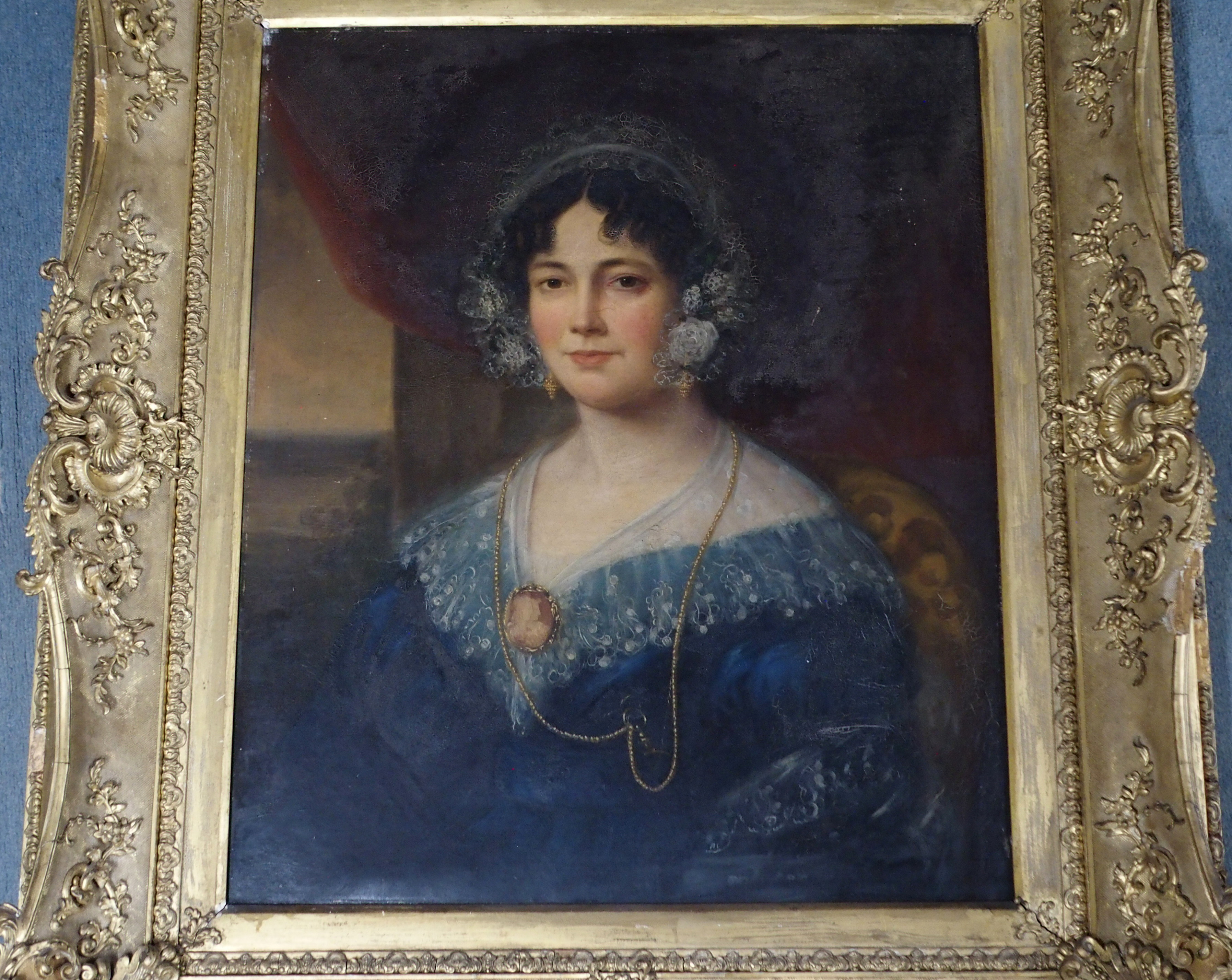 BRITISH SCHOOL (19TH CENTURY) PORTRAIT OF A LADY IN A BLUE DRESS AND LACE CAP Oil on canvas, 76 x - Image 3 of 5