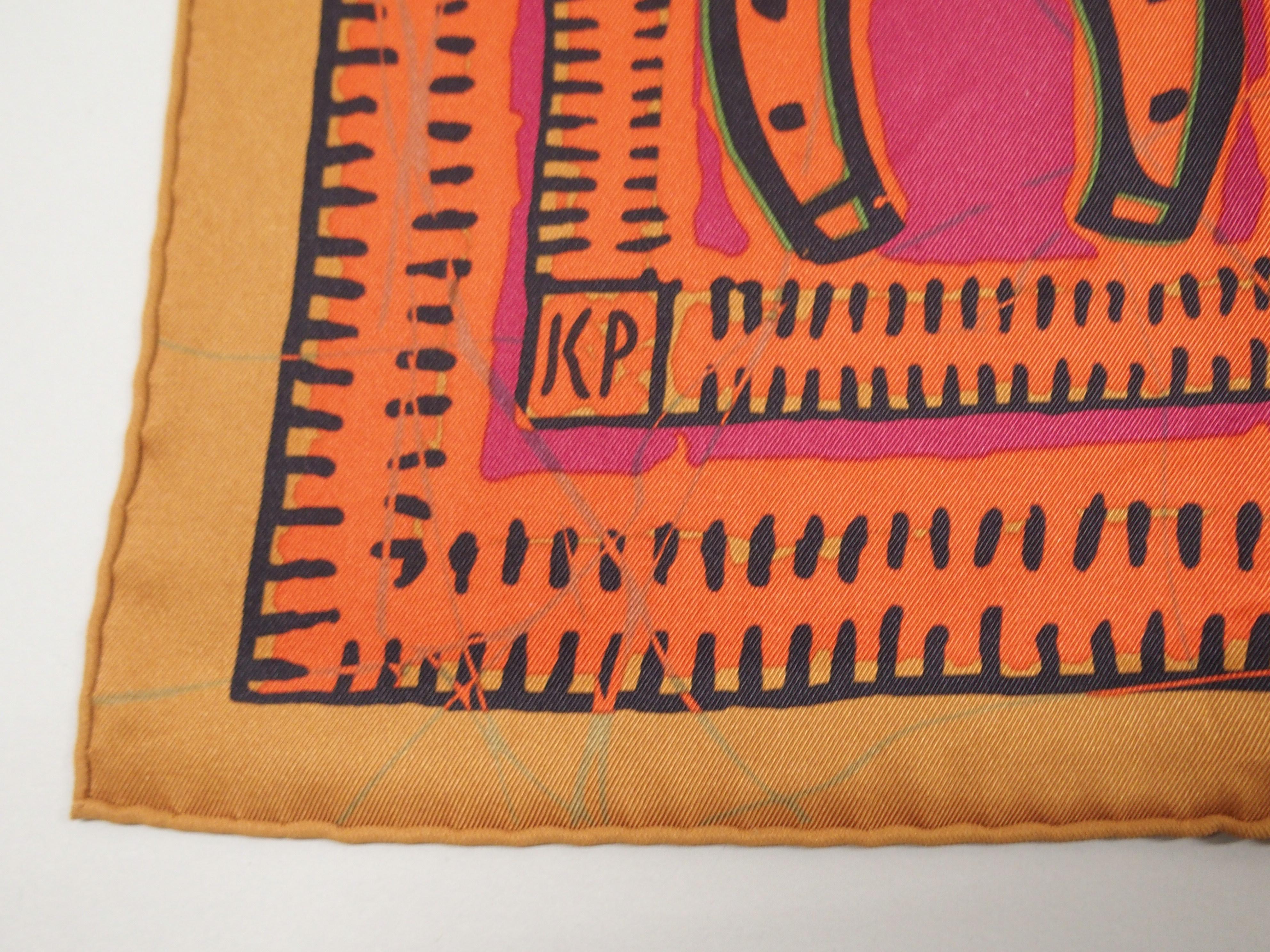 AN ORIGINAL LE BOUBOU H HERMES SILK SCARF designed by Karen Petrossian, in original box, 70 x 70cm - Image 4 of 5