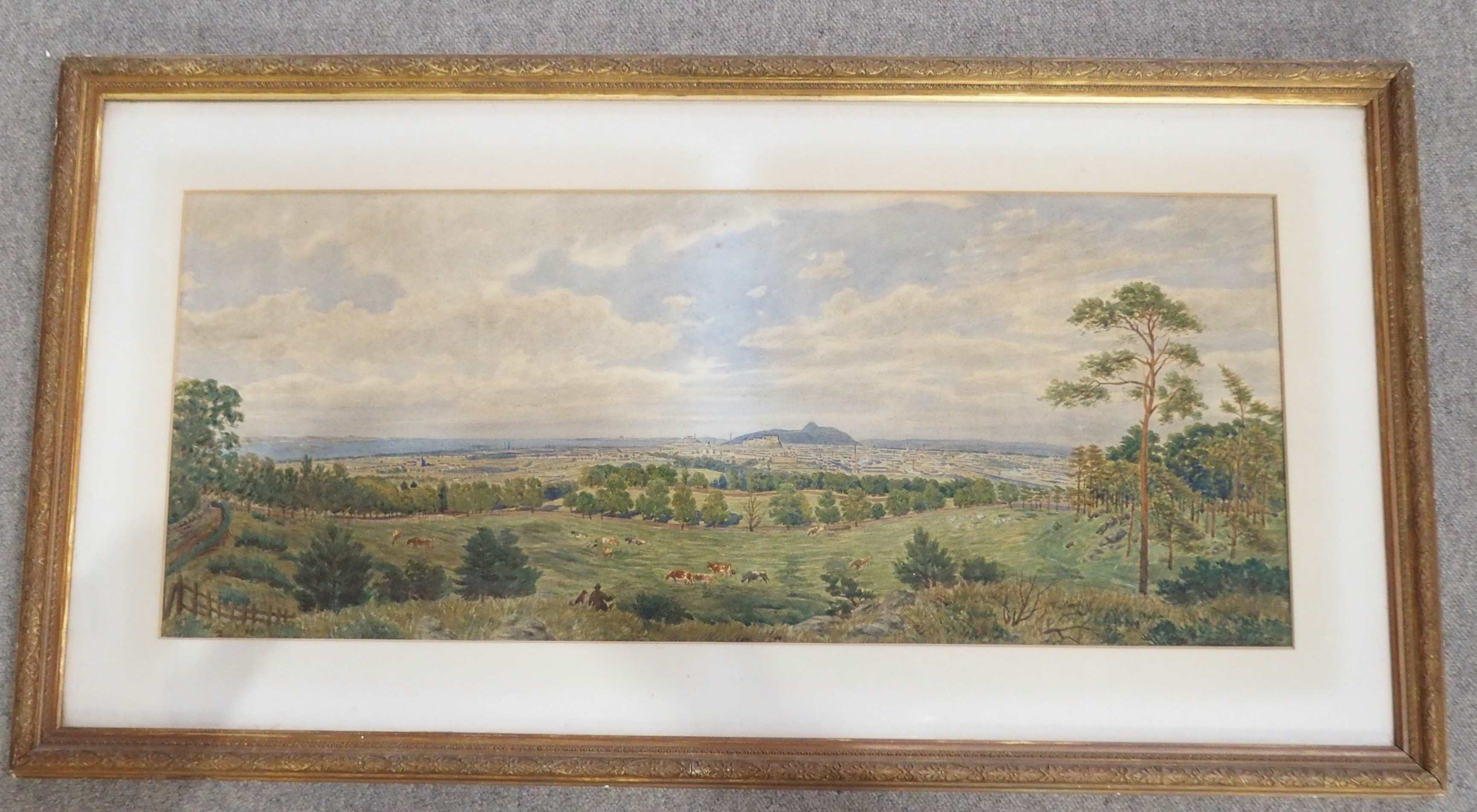 A ARNST (GERMAN 19TH CENTURY) PANORAMIC VIEW OF EDINBURGH Watercolour on paper laid on canvas, - Image 2 of 4
