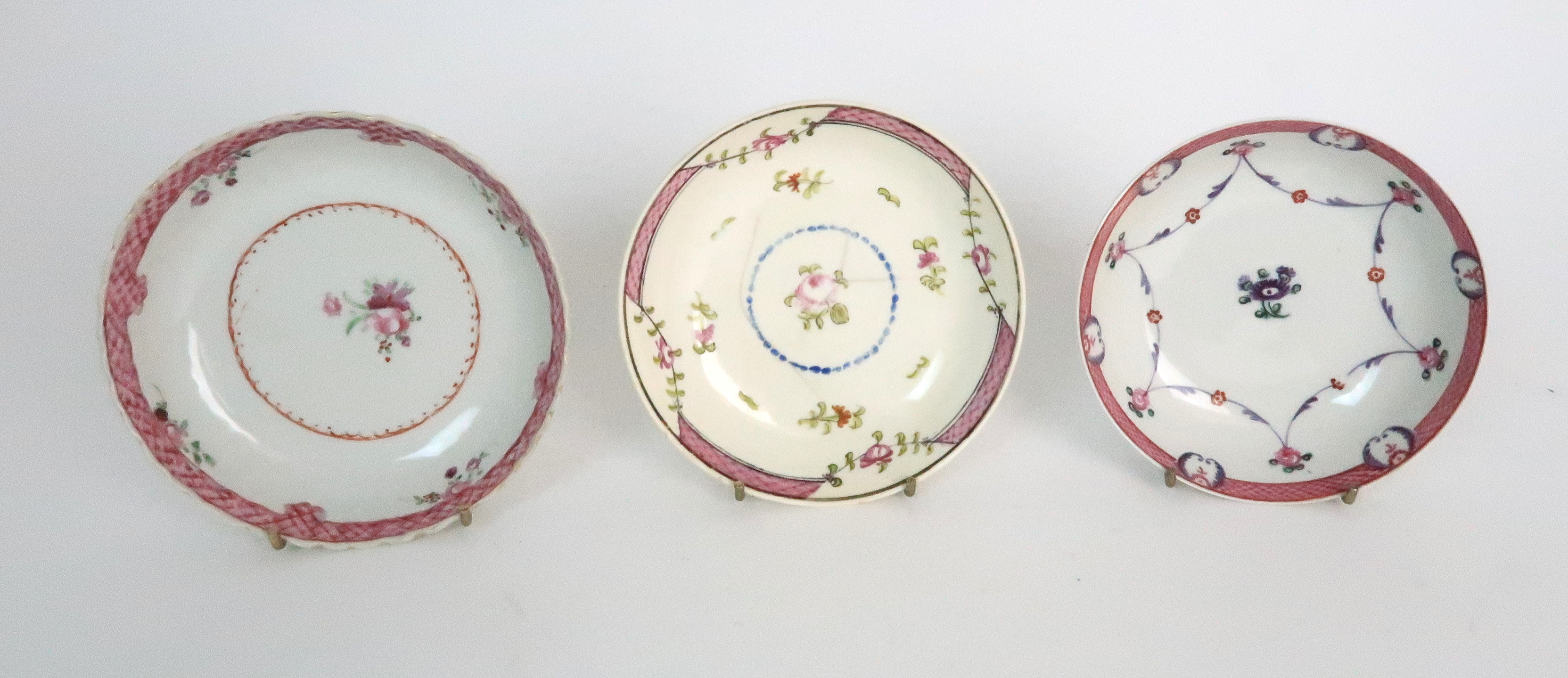 A COLLECTION OF TEA BOWLS AND SAUCERS each with pink scale and floral decoration including New Hall; - Image 4 of 12