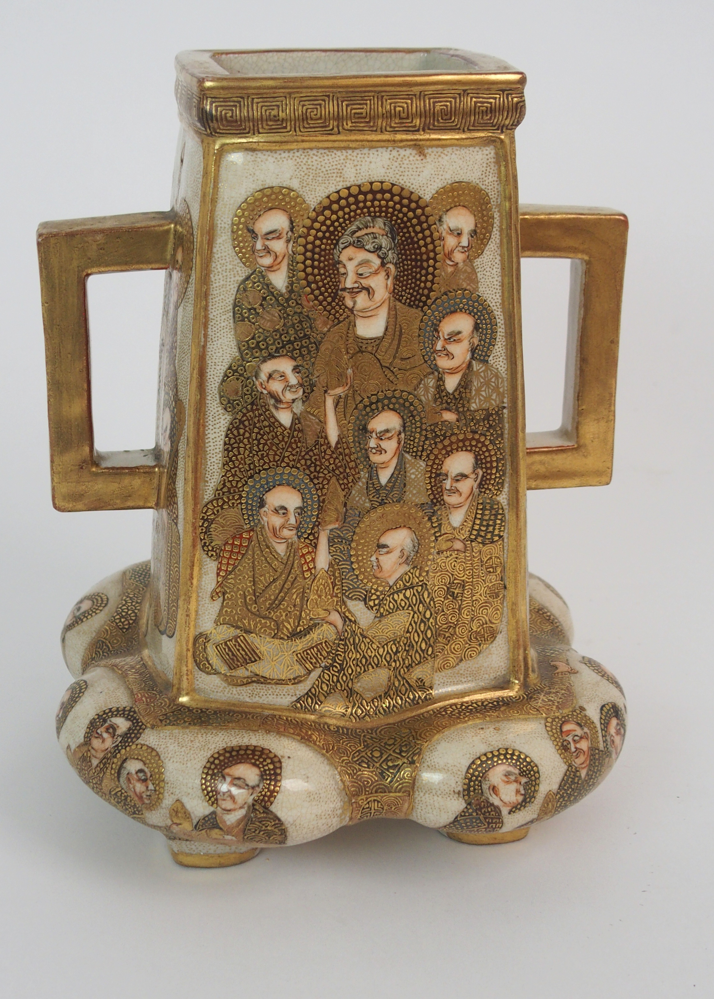 A SATSUMA SQUARE TAPERING TWO HANDLED VASE painted with mythical gods on a gilt ground, beneath - Image 2 of 9