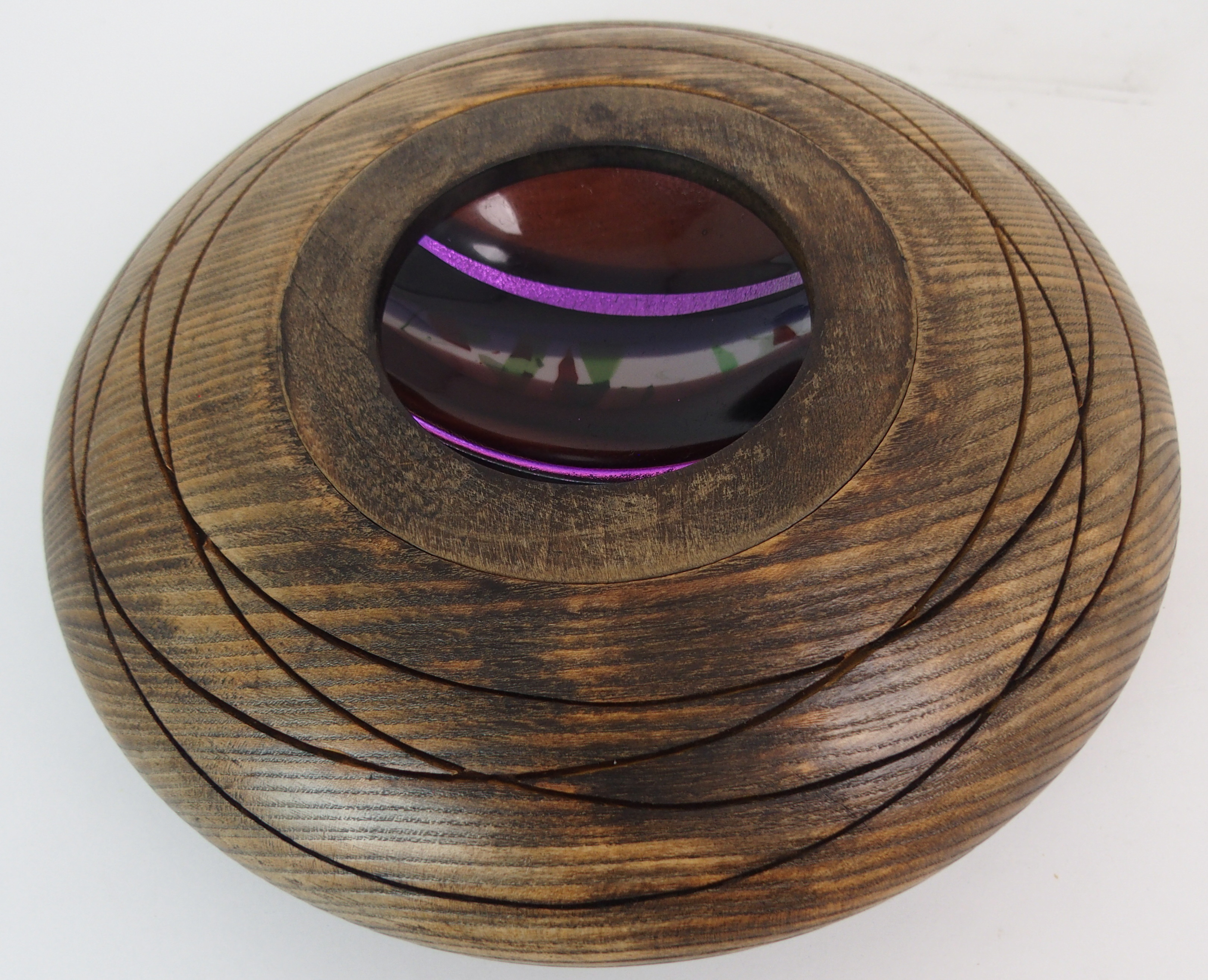 A SCOTT IRVINE WOOD AND FUSED GLASS CENTERPIECE BOWL 30cm diameter Condition Report: Available