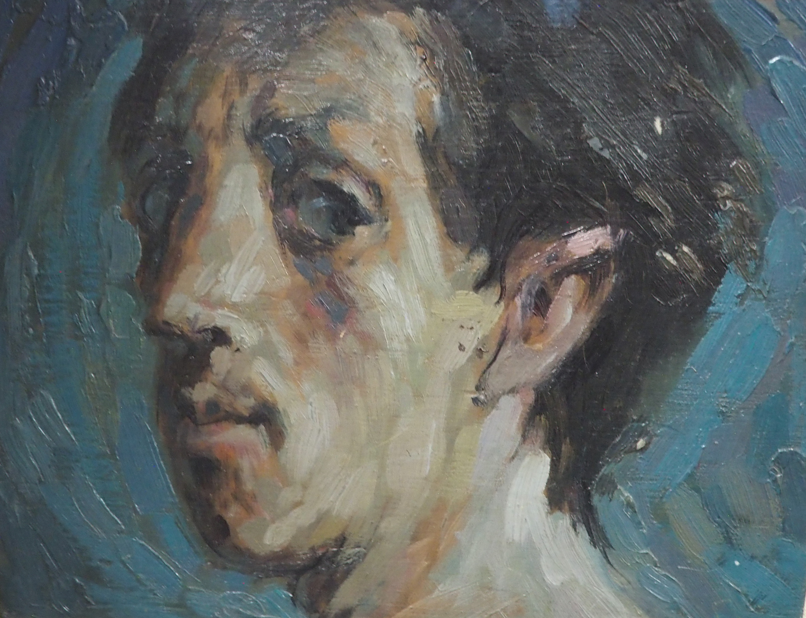 "•SCOTTISH SCHOOL (20TH CENTURY) MALE PORTRAIT HEAD STUDY Oil on panel, 20 x 25cm (8 x 9 3/4"") - Image 3 of 4"