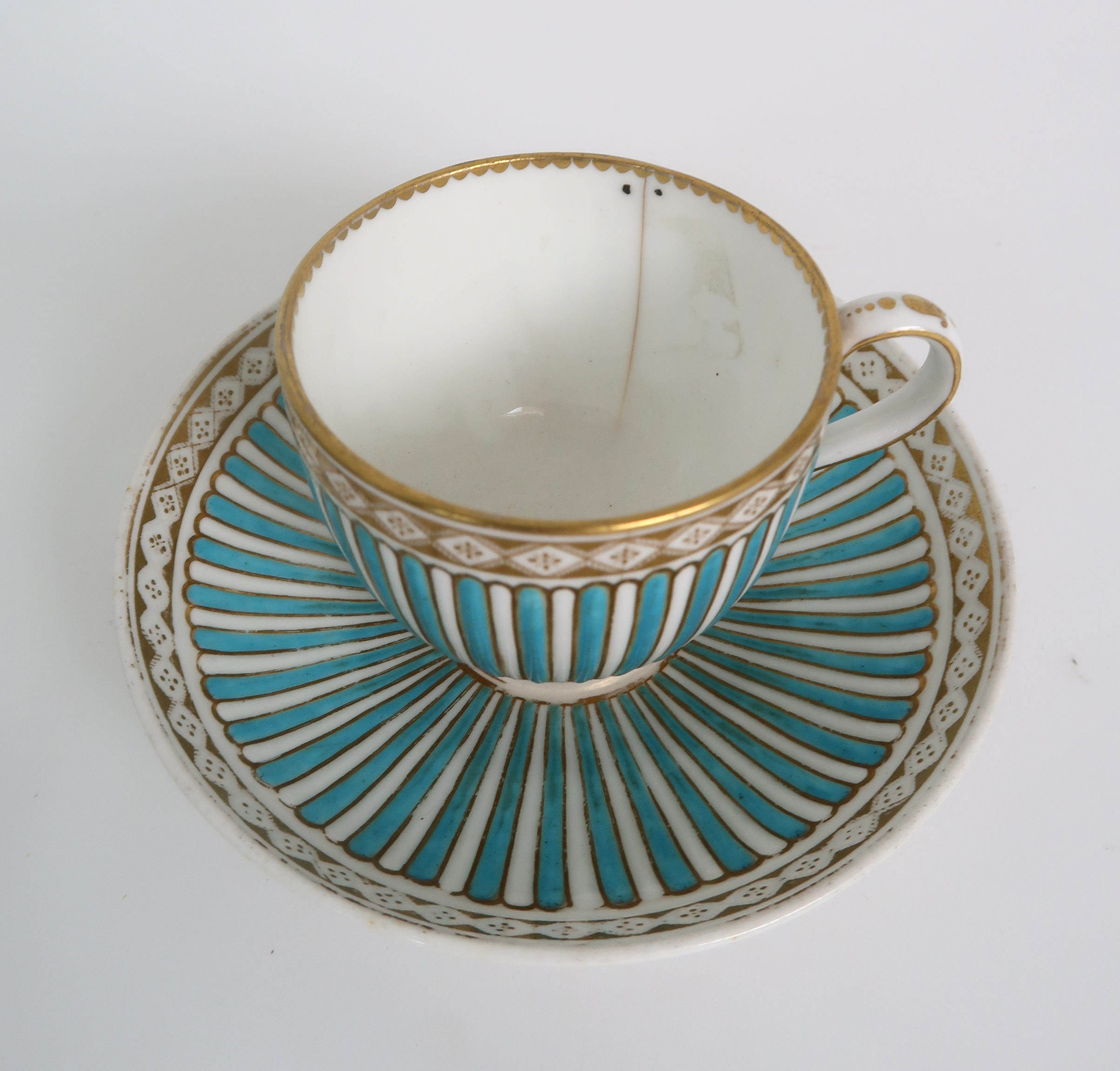 A COLLECTION OF 19TH CENTURY ENGLISH BLUE AND GILT DECORATED TEA AND COFFEE WARES including a - Image 3 of 23