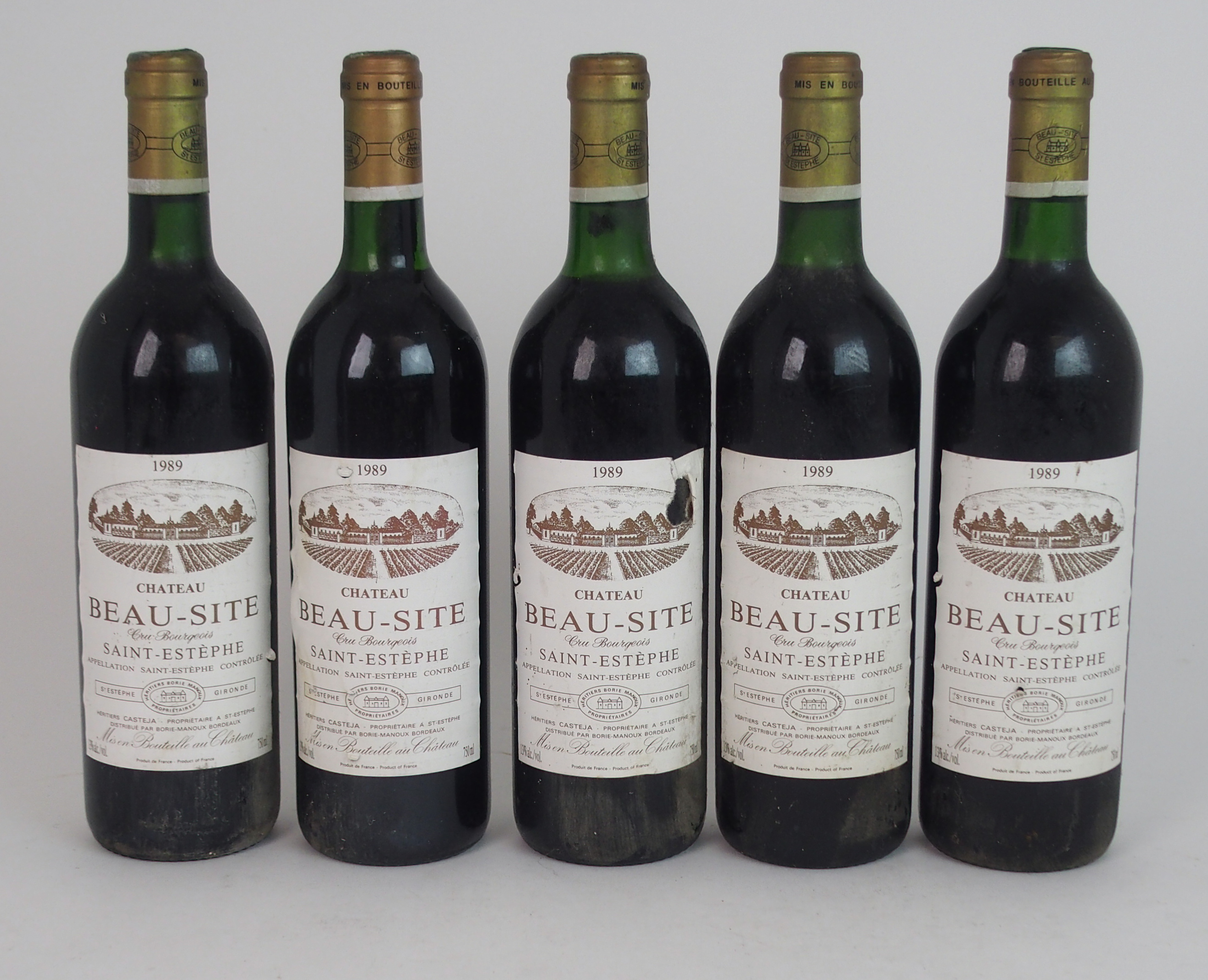 ELEVEN BOTTLES OF CHATEAU BEAU-SITE, SAINT ESTEPHE, 1989 13%vol, 750ml, labels stained and some torn - Image 2 of 8
