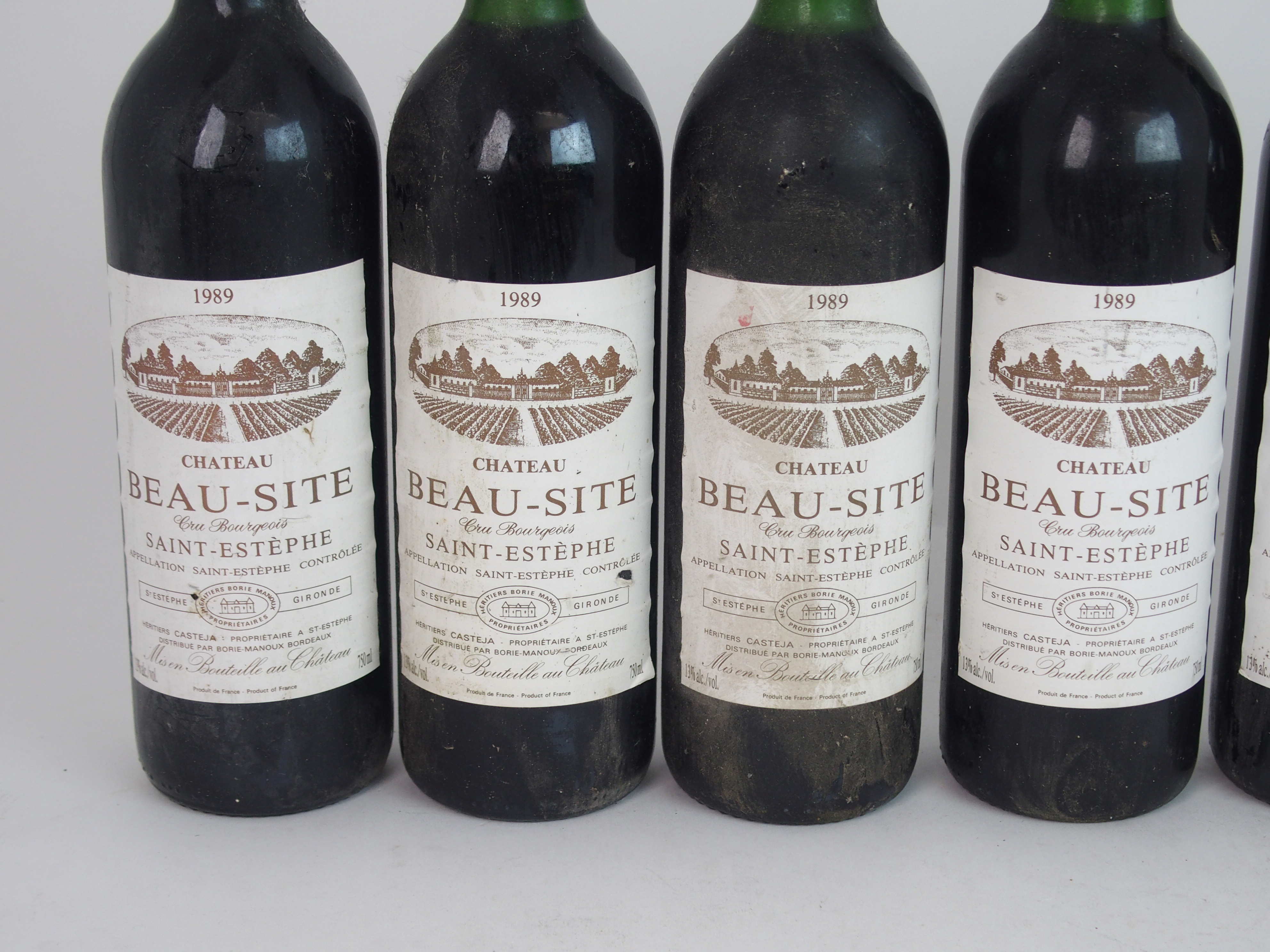 ELEVEN BOTTLES OF CHATEAU BEAU-SITE, SAINT ESTEPHE, 1989 13%vol, 750ml, labels stained and some torn - Image 3 of 8
