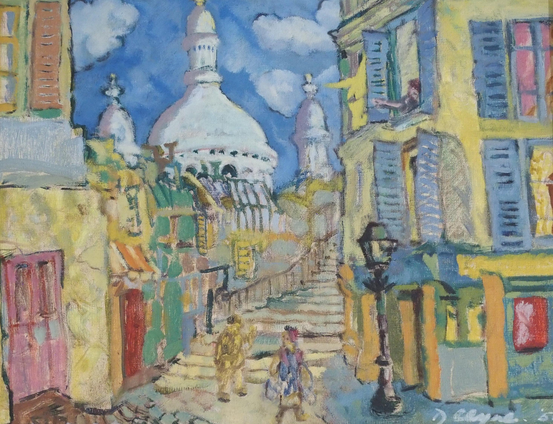 •WILLIAM DANIEL CLYNE (SCOTTISH 1922-1981) A CORNER IN OLD MONTMARTRE Oil on canvas board, signed