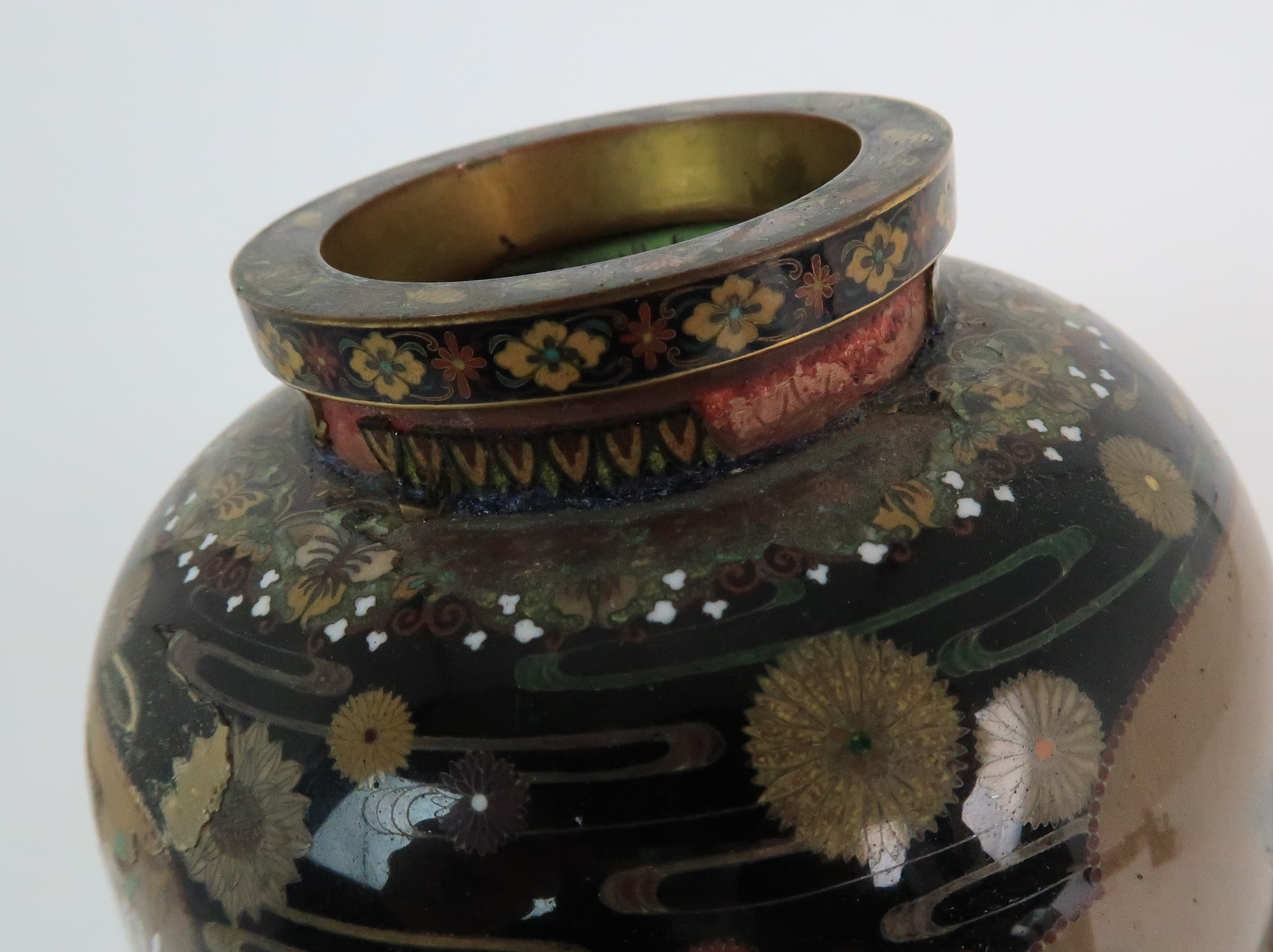 A JAPANESE CLOISONNE BALUSTER VASE finely decorated with panels of birds, butterflies, plants and - Image 4 of 15