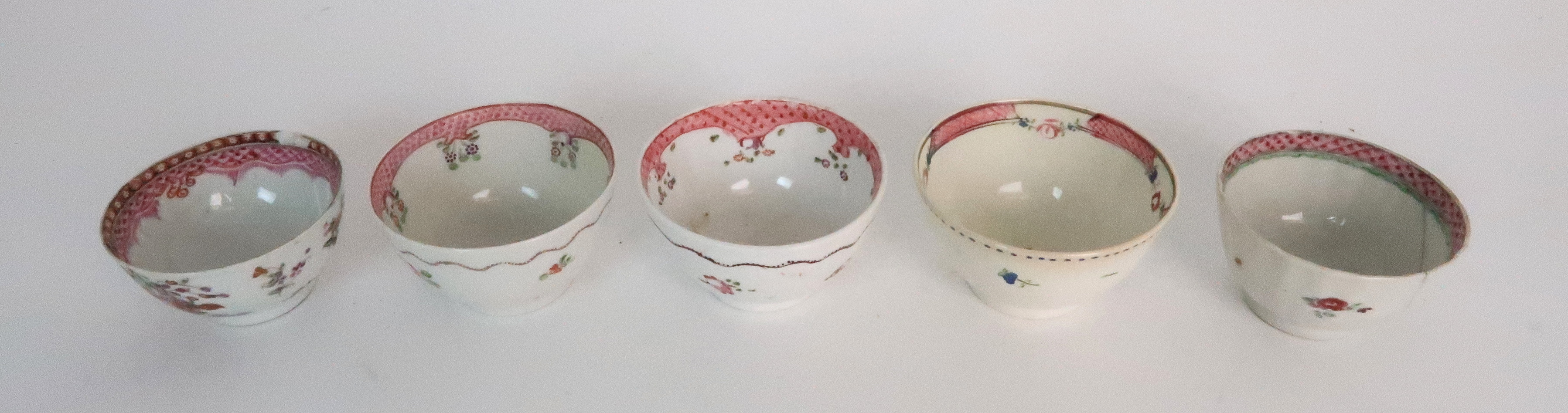 A COLLECTION OF TEA BOWLS AND SAUCERS each with pink scale and floral decoration including New Hall; - Image 10 of 12