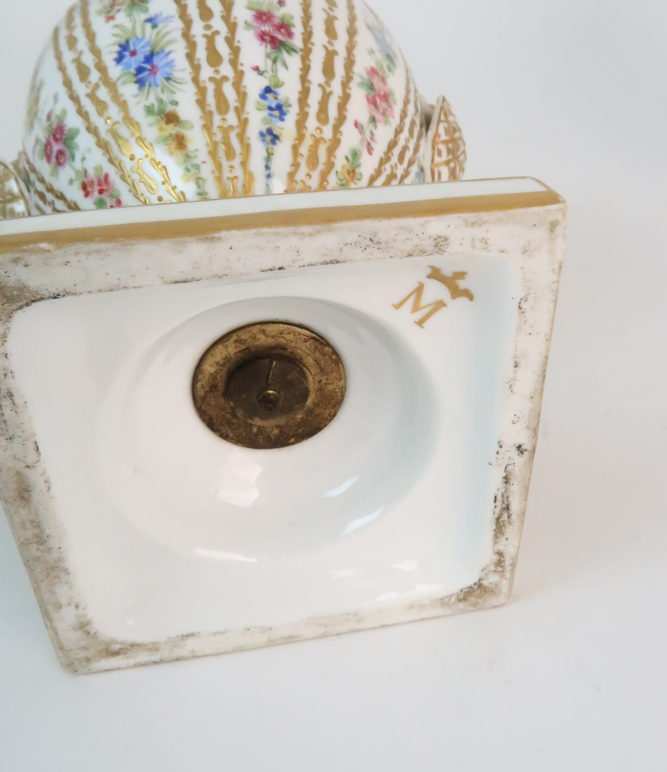 A PAIR OF CONTINENTAL PORCELAIN URNS each decorated with strings of flowers and gilt dot and dash - Image 6 of 16