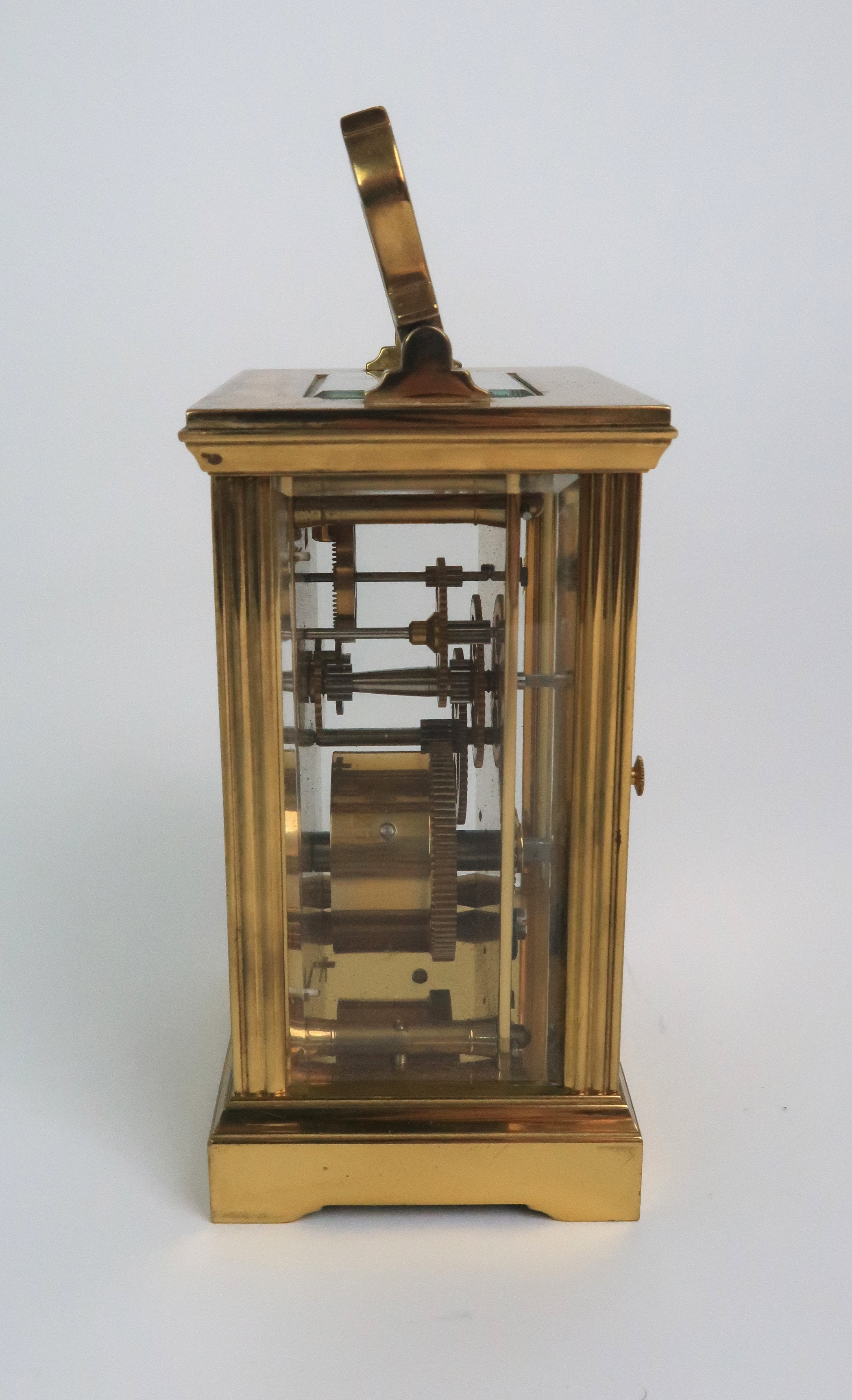 A GARRARD AND CO BRASS AND GLASS CARRIAGE CLOCK the white dial with Roman numerals and the - Image 2 of 6