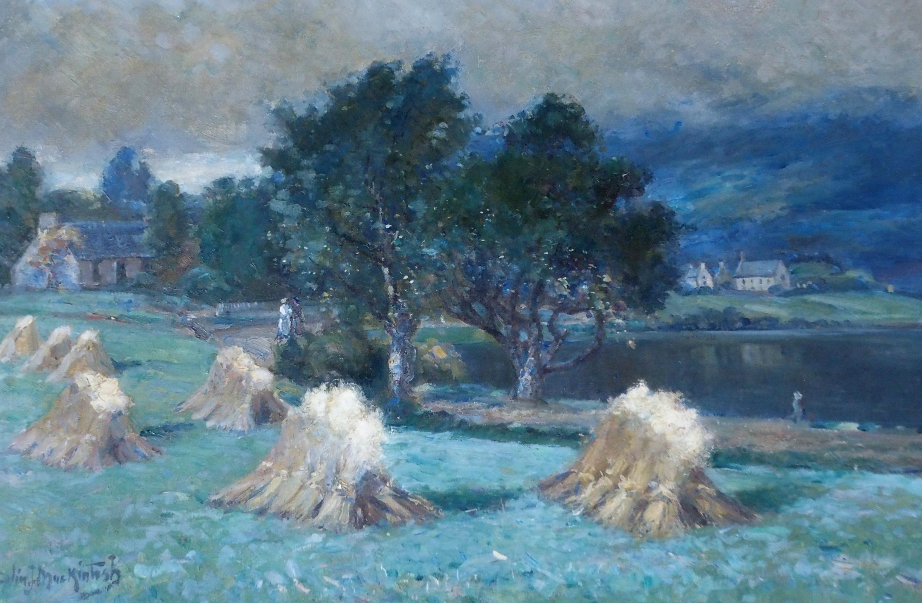 COLIN JOHN MACKINTOSH (SCOTTISH 1866-1910) CORN STOOKS, LOCH ALVIE Oil on canvas, signed, 61 x 91. - Image 4 of 6