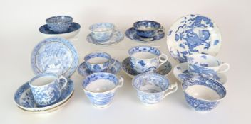 A COLLECTION OF ANTIQUE AND LATER ENGLISH BLUE AND WHITE PORCELAIN TEA/COFFEE WARES including