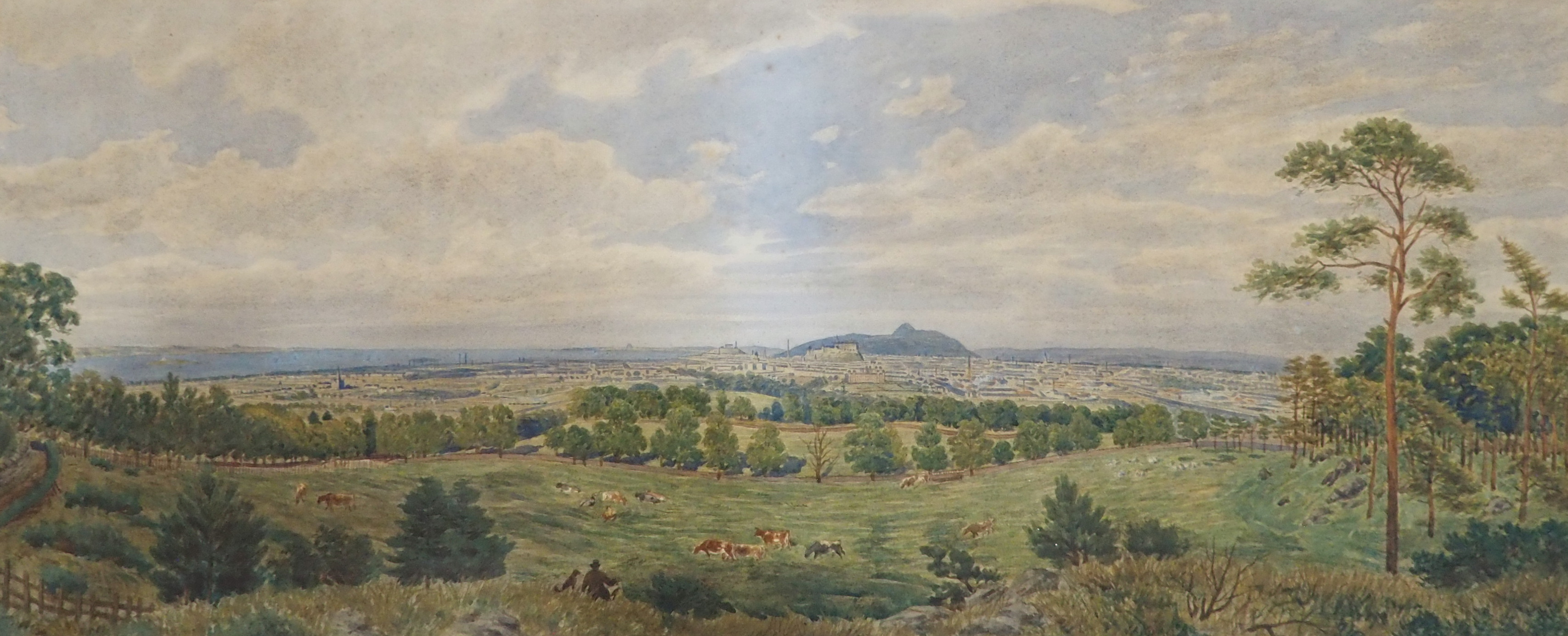A ARNST (GERMAN 19TH CENTURY) PANORAMIC VIEW OF EDINBURGH Watercolour on paper laid on canvas,