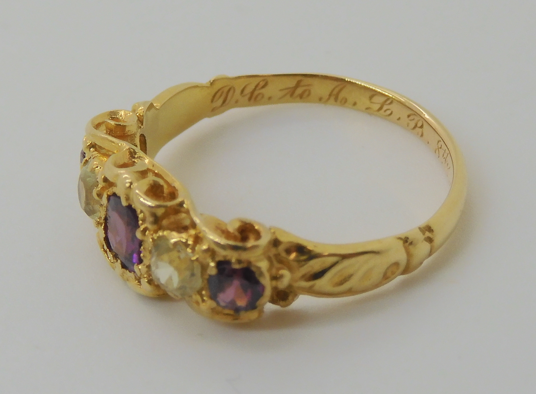 A VICTORIAN GEM SET RING inscribed and dated 1861, set with garnets and pale green gems, finger size - Image 5 of 7