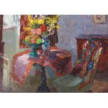 •MARY NICOL NEILL ARMOUR RSA, RSW, RGI, PAI, LLD (SCOTTISH 1902-2000) SITTING ROOM WITH VASE OF