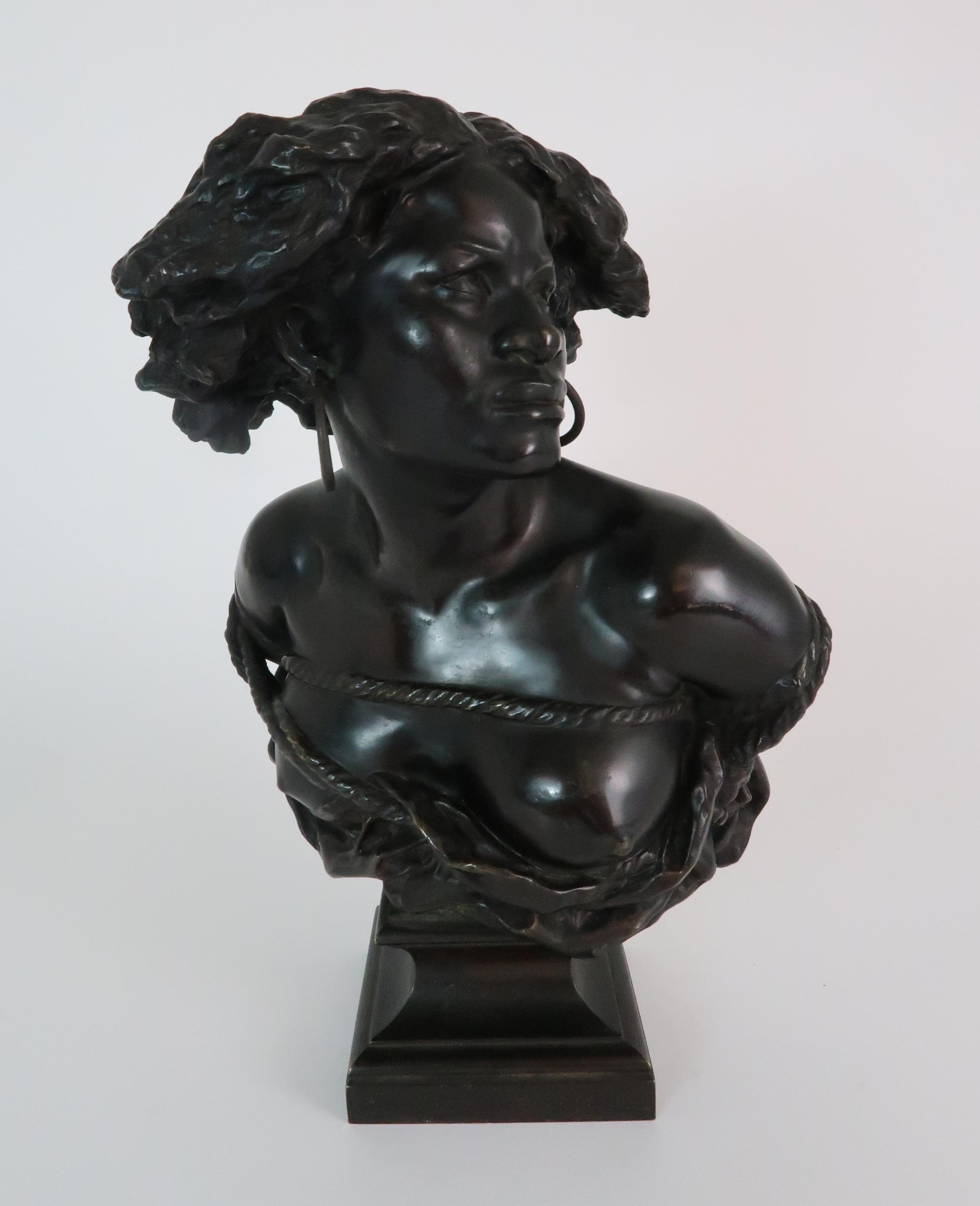 AFTER JEAN-BAPTISTE CARPEAUX (FRENCH 1827-1875) - POUR QUOINAITRE ESCLAVE a bronze bust of a