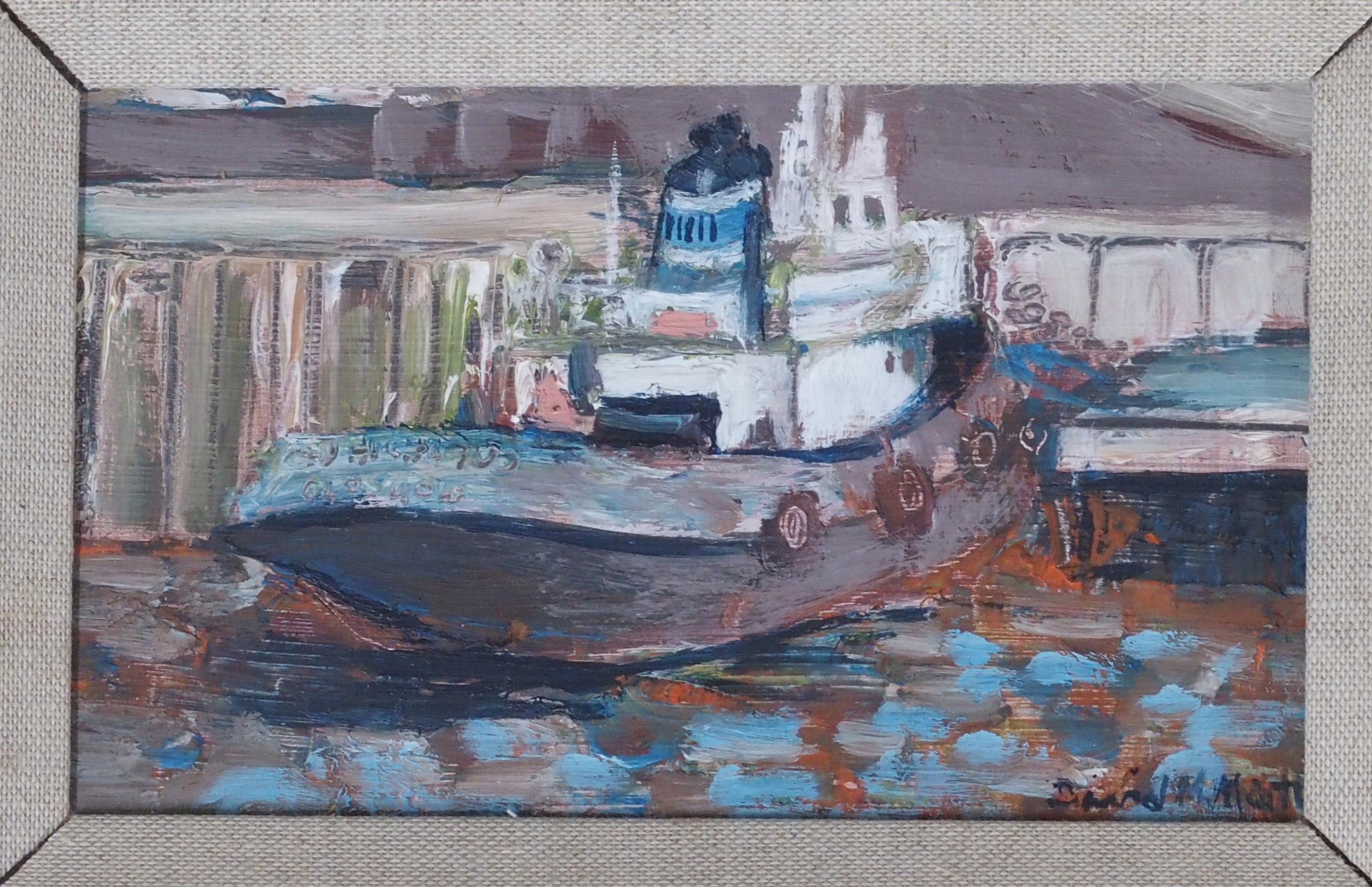 •DAVID M MARTIN RSW, RGI (SCOTTISH 1922-2018) TUG AT KYLE Oil on board, signed, 10 x 17cm (4 x 6 1/