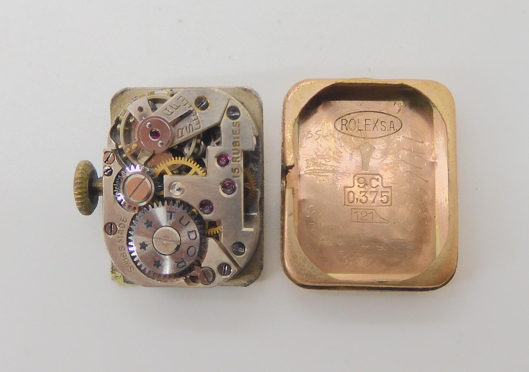 A 9CT GOLD LADIES TUDOR WRISTWATCH the dial signed Tudor Dobbies Ltd Nairobi. with black roman - Image 3 of 3