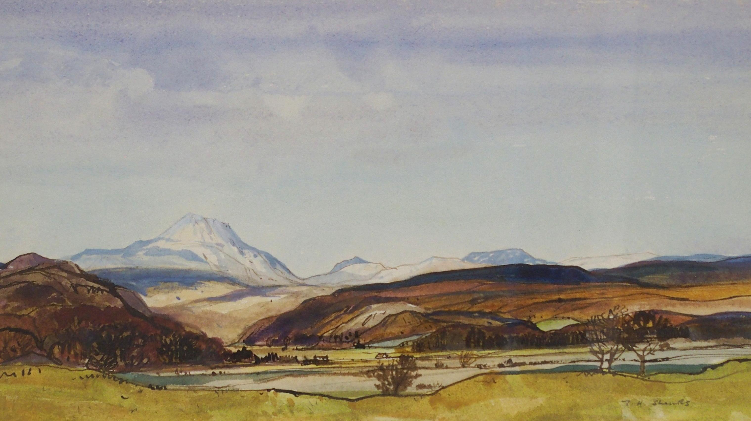 •TOM H SHANKS RSW, RGI (1921-1920) NEAR BALFRON Watercolour on paper, signed, 20 x 35cm (8 x 13 3/