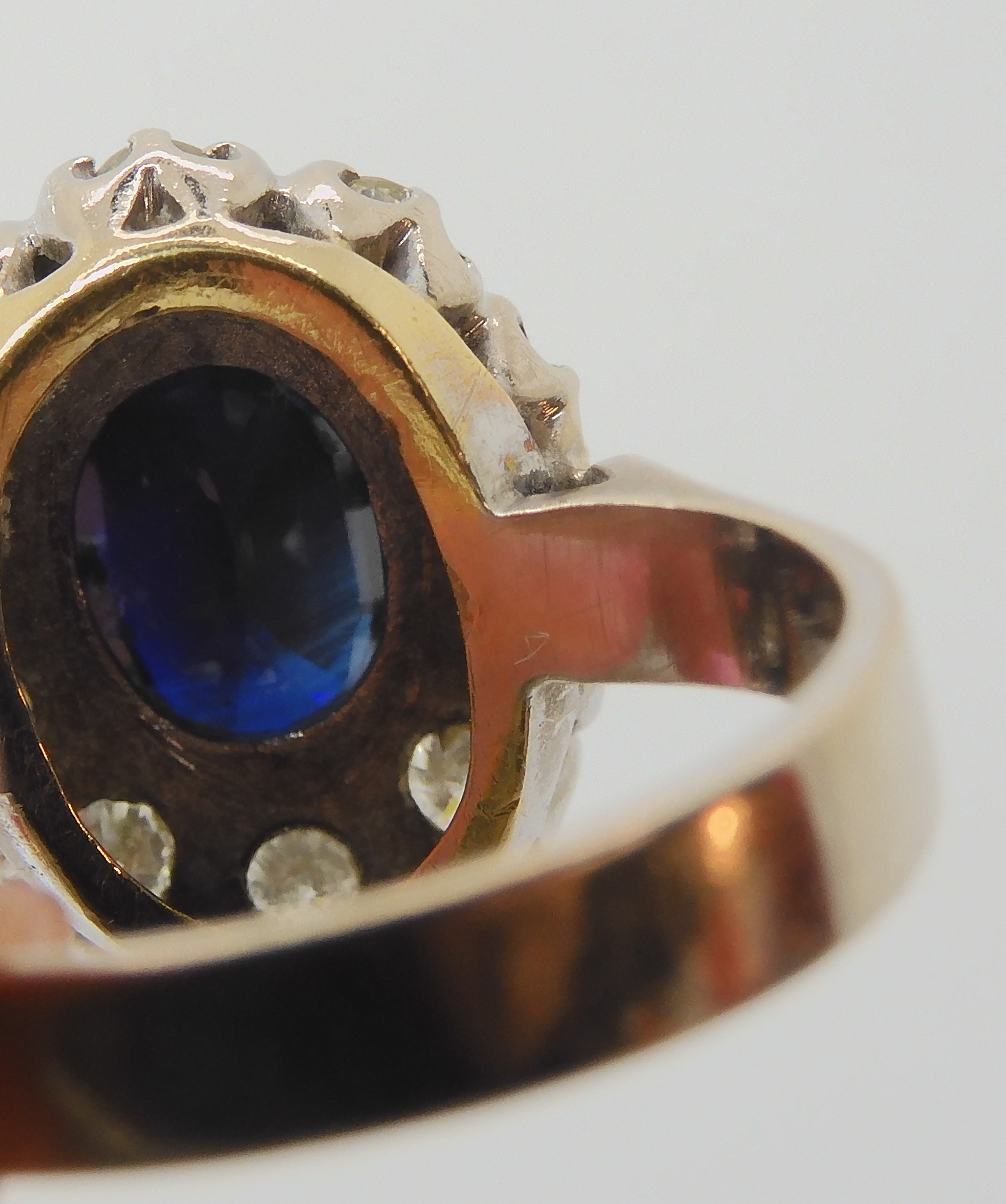 AN 18CT WHITE GOLD SAPPHIRE AND DIAMOND CLUSTER RING set with estimated approx 0.50cts of - Image 2 of 8