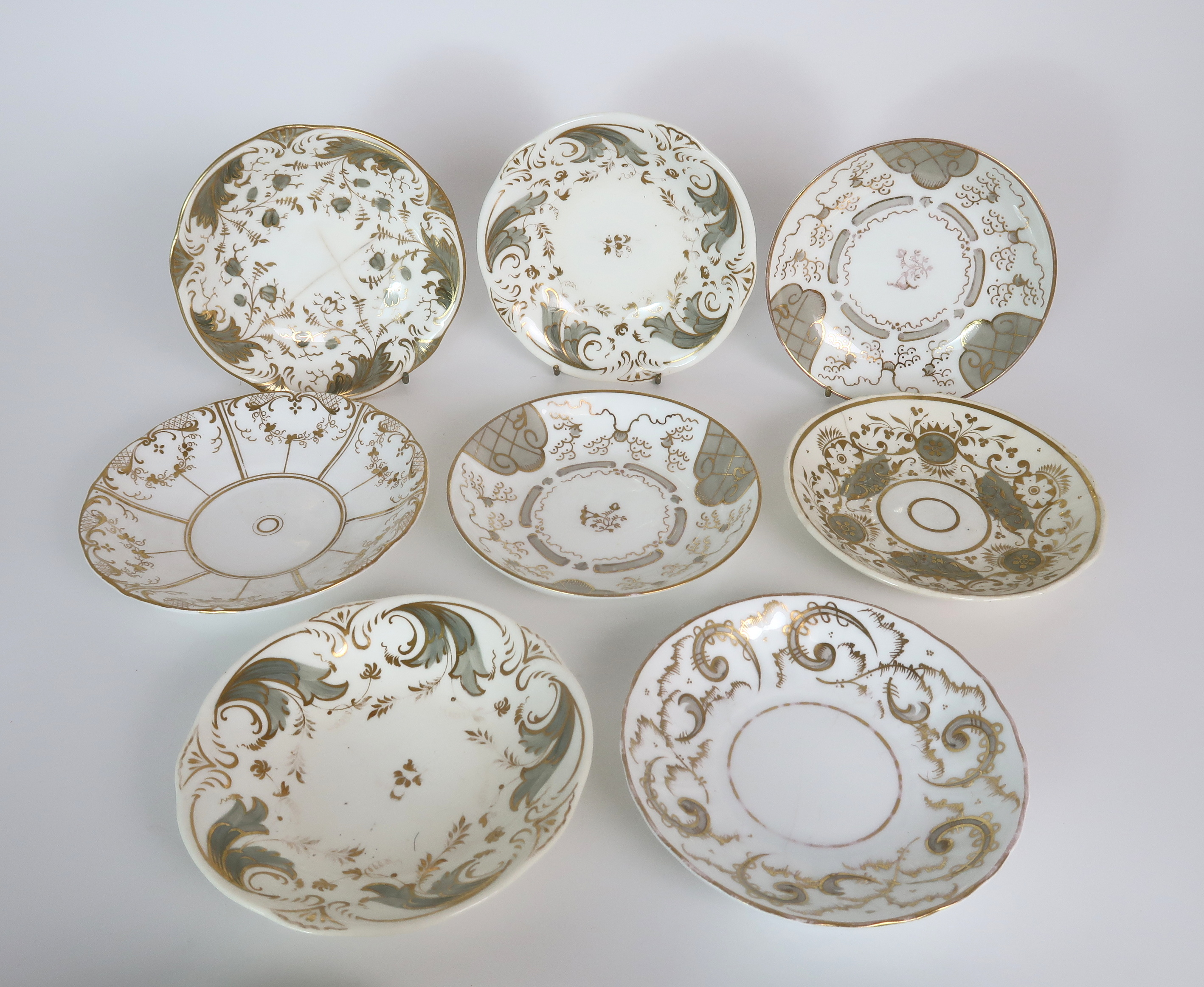 A COLLECTION OF 19TH CENTURY ENGLISH TEA AND COFFEE WARES the white ground with either grey and gilt - Image 2 of 22