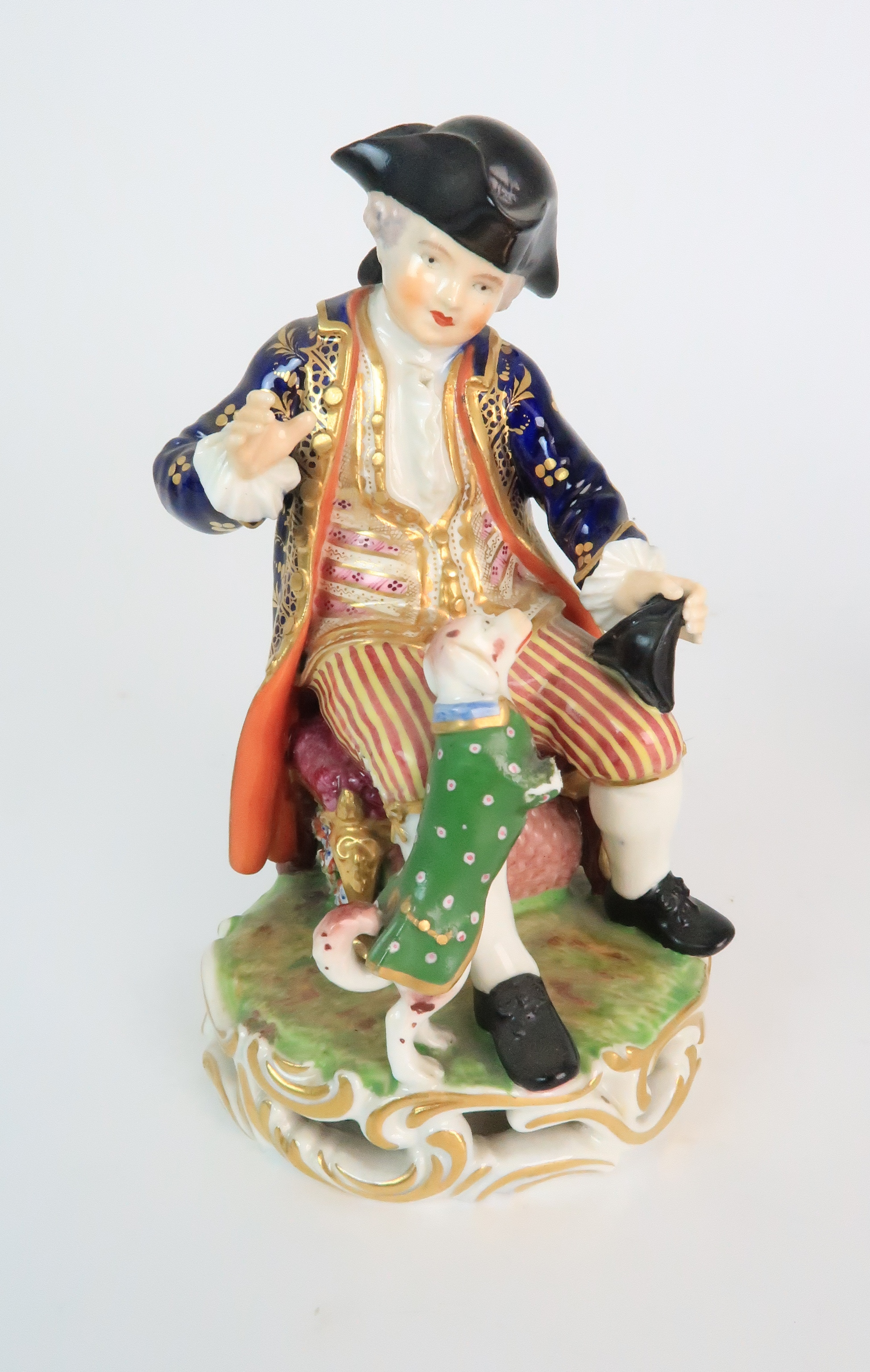 A PAIR OF DERBY PORCELAIN FIGURES early 19th century, modelled as a seated boy playing with a dog - Image 11 of 12