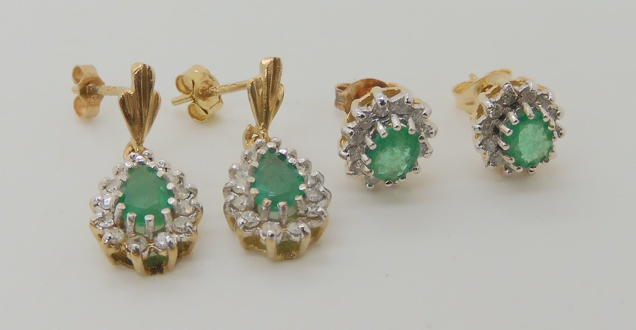 TWO PAIRS OF EMERALD AND DIAMOND EARRINGS pear shaped emerald and diamond drop earrings, set with - Image 4 of 4