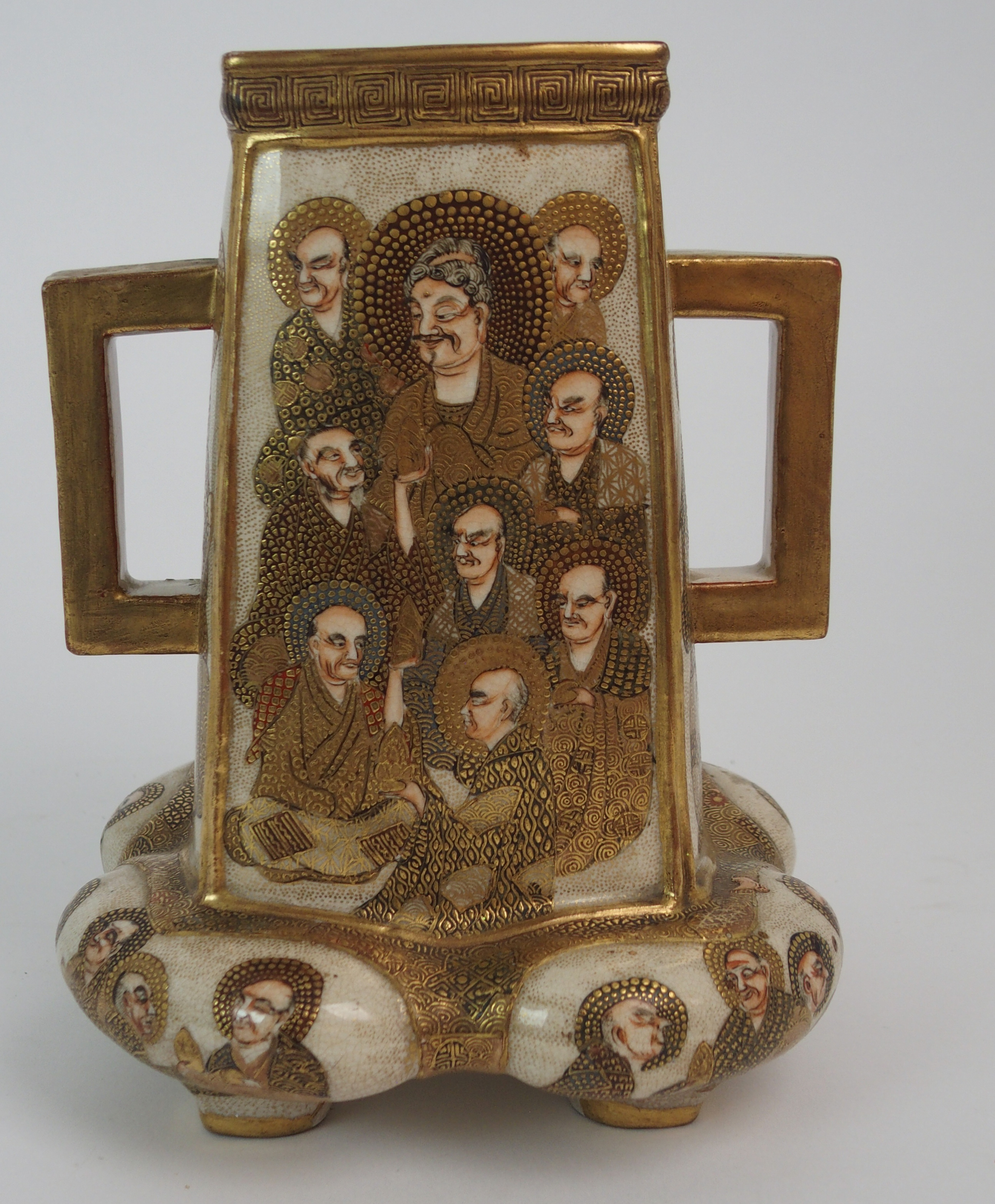 A SATSUMA SQUARE TAPERING TWO HANDLED VASE painted with mythical gods on a gilt ground, beneath - Image 3 of 9