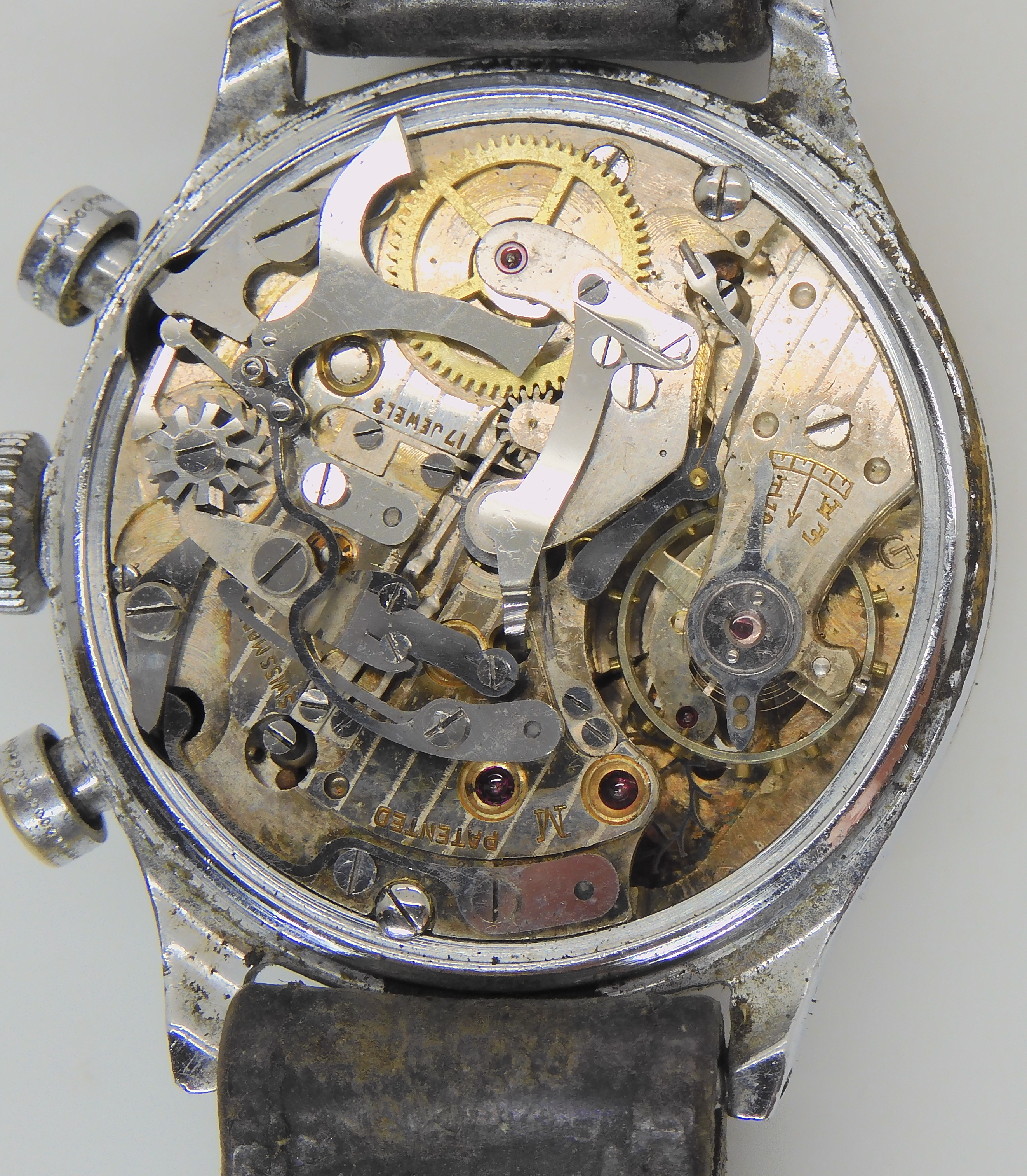 TWO MILITARY WATCHES a base metal Waltham pocket watch with a black dial subsidiary seconds dial and - Image 4 of 5