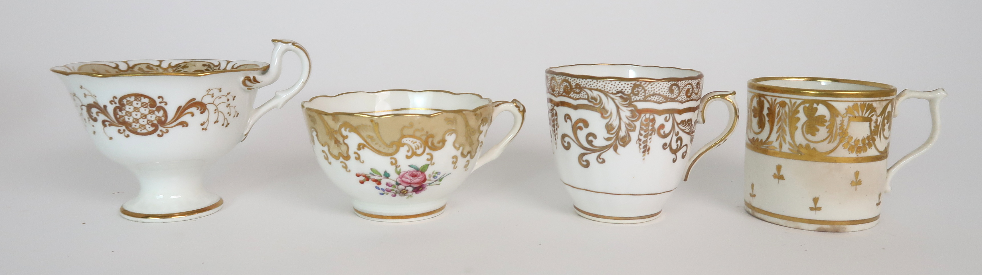 A COLLECTION OF 19TH CENTURY ENGLISH TEA AND COFFEE WARES the white ground with either grey and gilt - Image 11 of 22