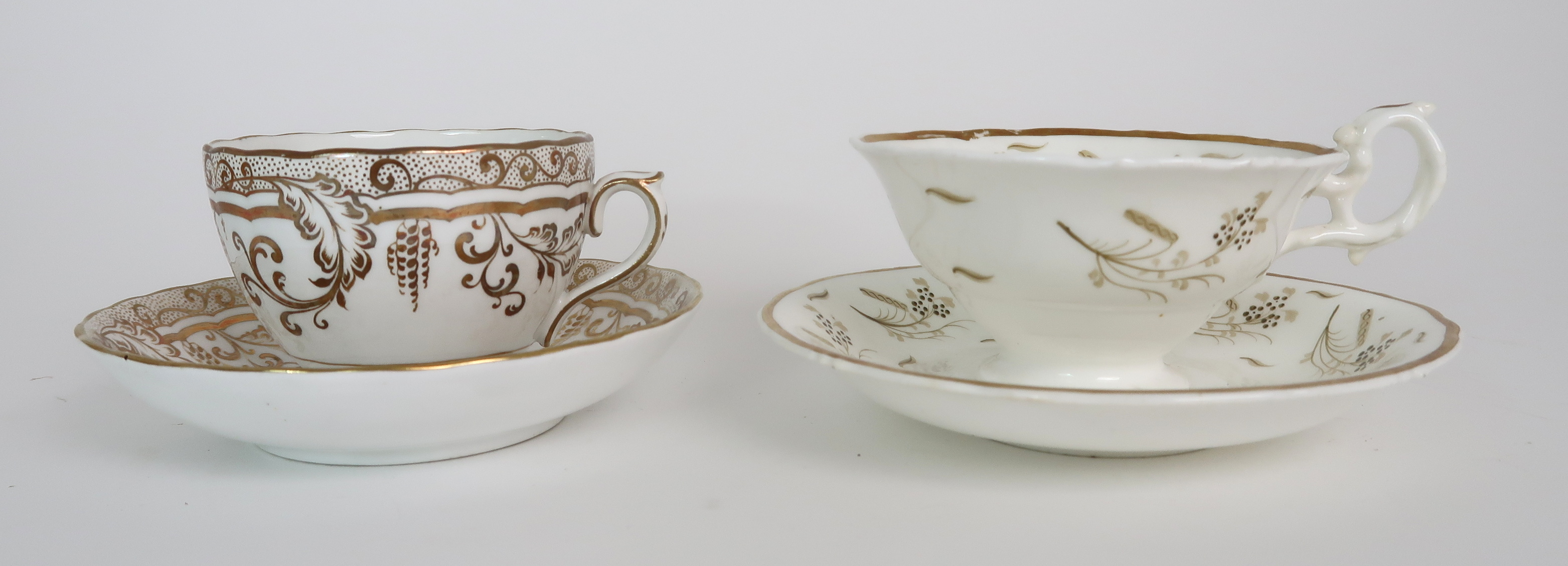 A COLLECTION OF 19TH CENTURY ENGLISH TEA AND COFFEE WARES the white ground with either grey and gilt - Image 14 of 22