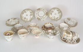 A COLLECTION OF 19TH CENTURY ENGLISH TEA AND COFFEE WARES the white ground with either grey and gilt