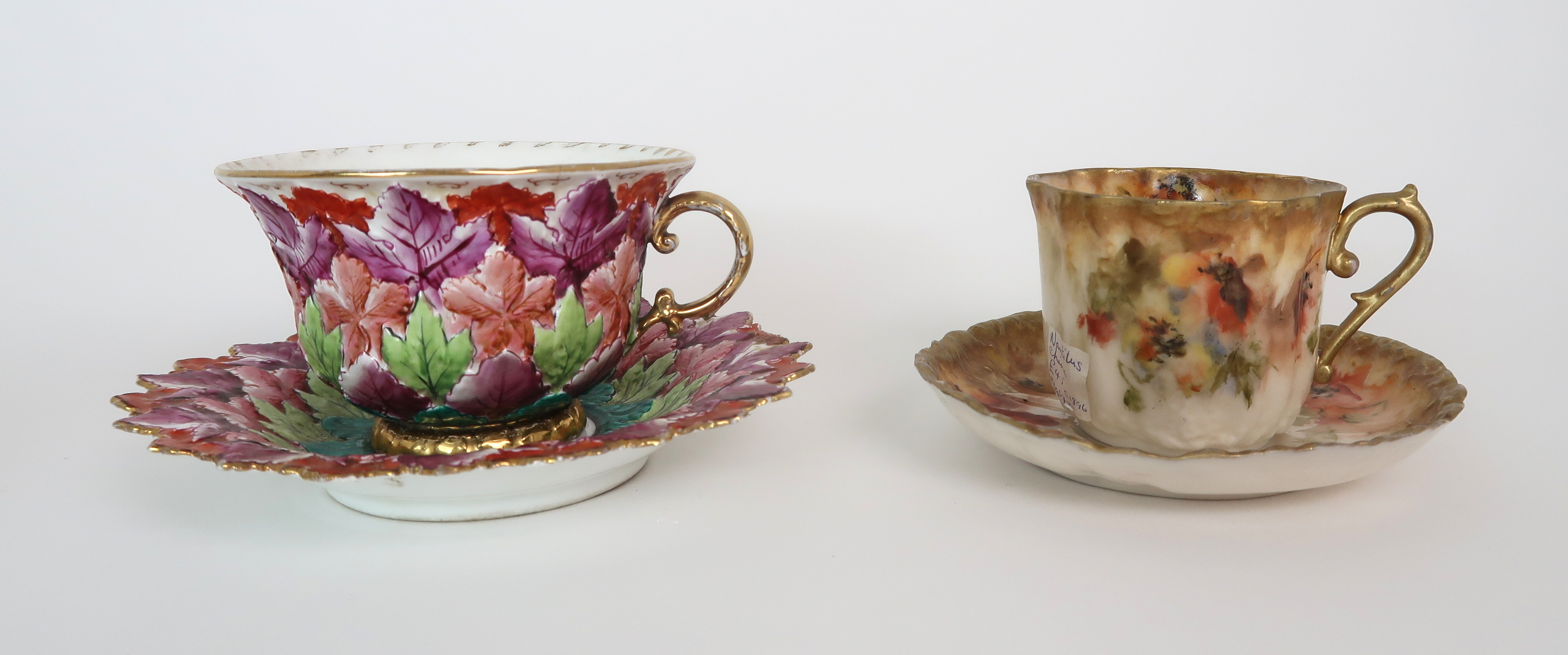 THREE CAPODIMONTE CUPS AND SAUCERS decorated with bacchanalian scenes, a pair of Sevres pots - Image 10 of 16