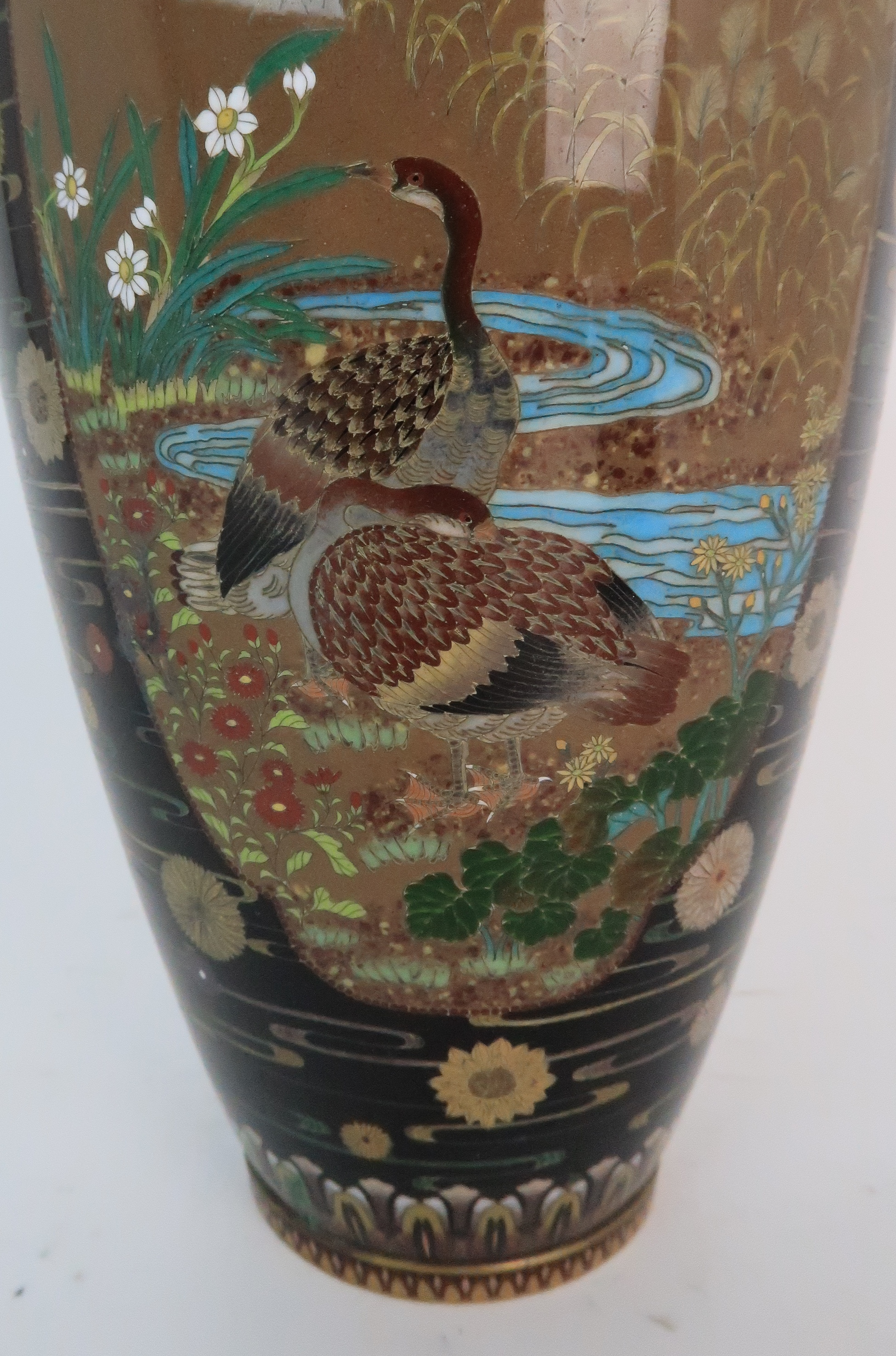 A JAPANESE CLOISONNE BALUSTER VASE finely decorated with panels of birds, butterflies, plants and - Image 9 of 15