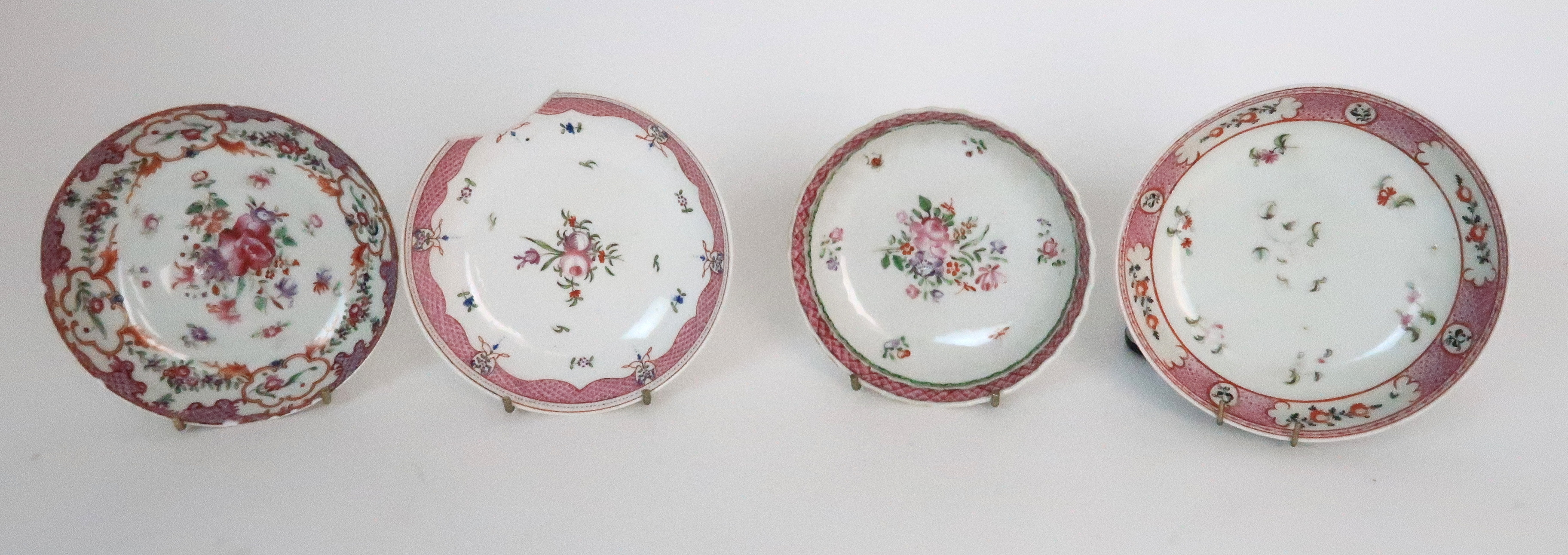 A COLLECTION OF TEA BOWLS AND SAUCERS each with pink scale and floral decoration including New Hall; - Image 3 of 12