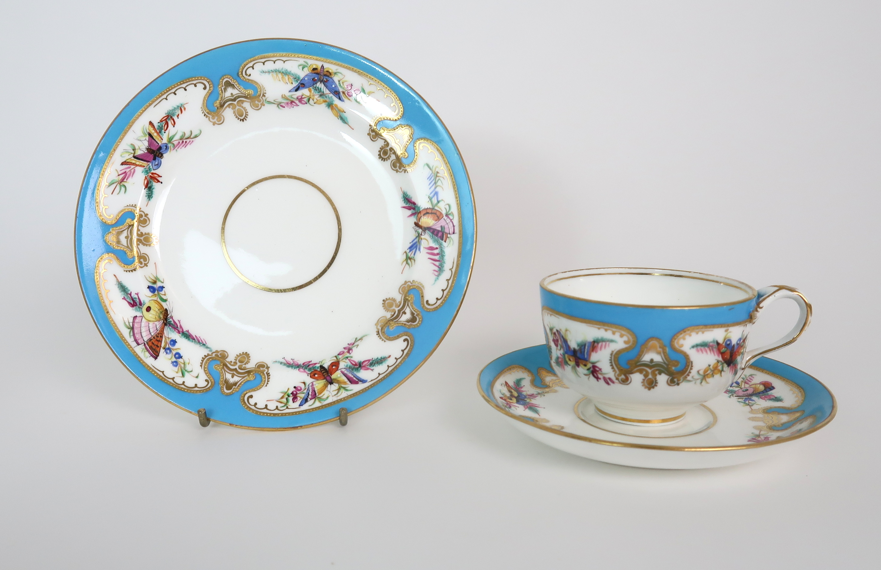 THREE CAPODIMONTE CUPS AND SAUCERS decorated with bacchanalian scenes, a pair of Sevres pots - Image 6 of 16