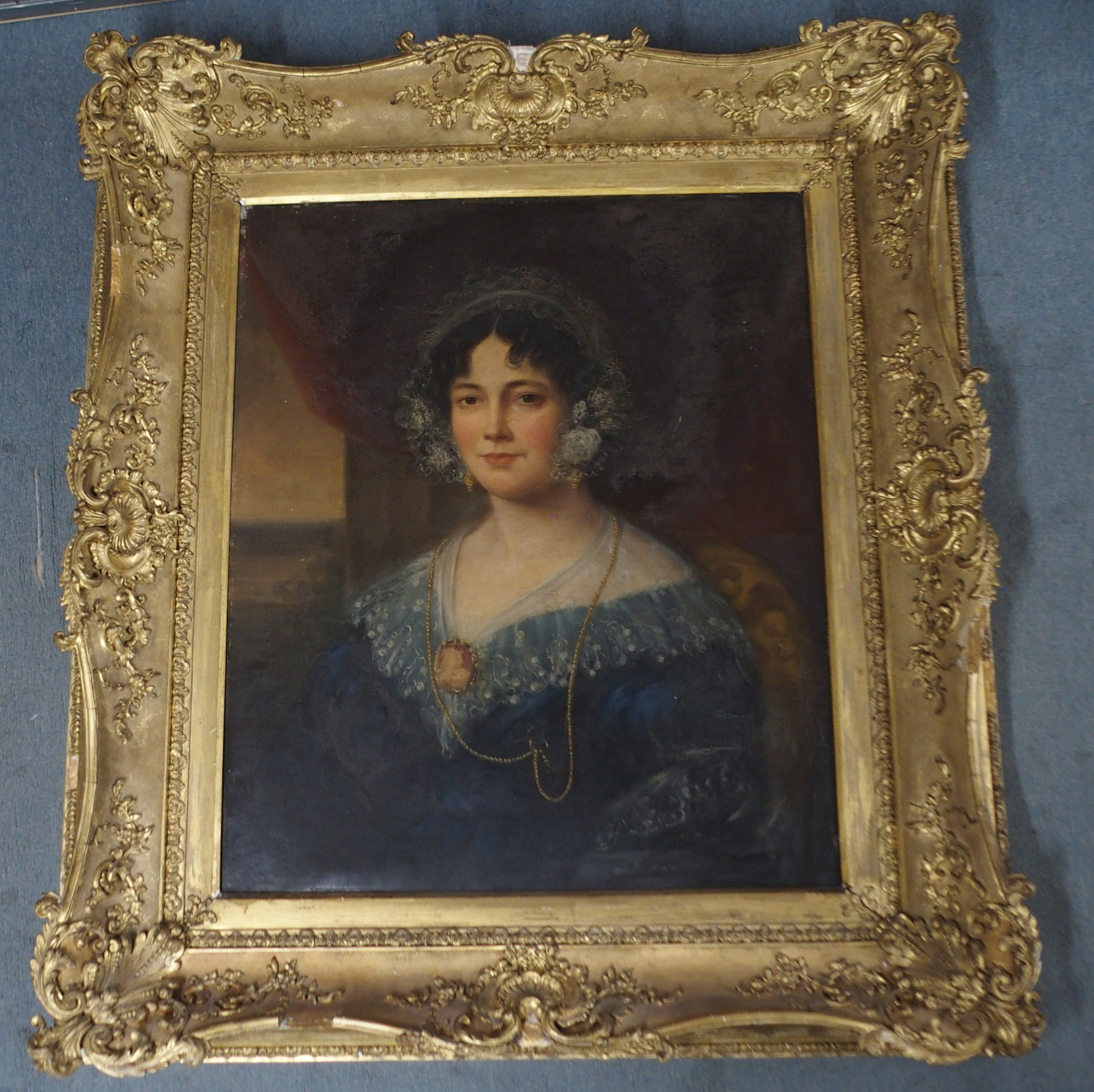 BRITISH SCHOOL (19TH CENTURY) PORTRAIT OF A LADY IN A BLUE DRESS AND LACE CAP Oil on canvas, 76 x - Image 2 of 5